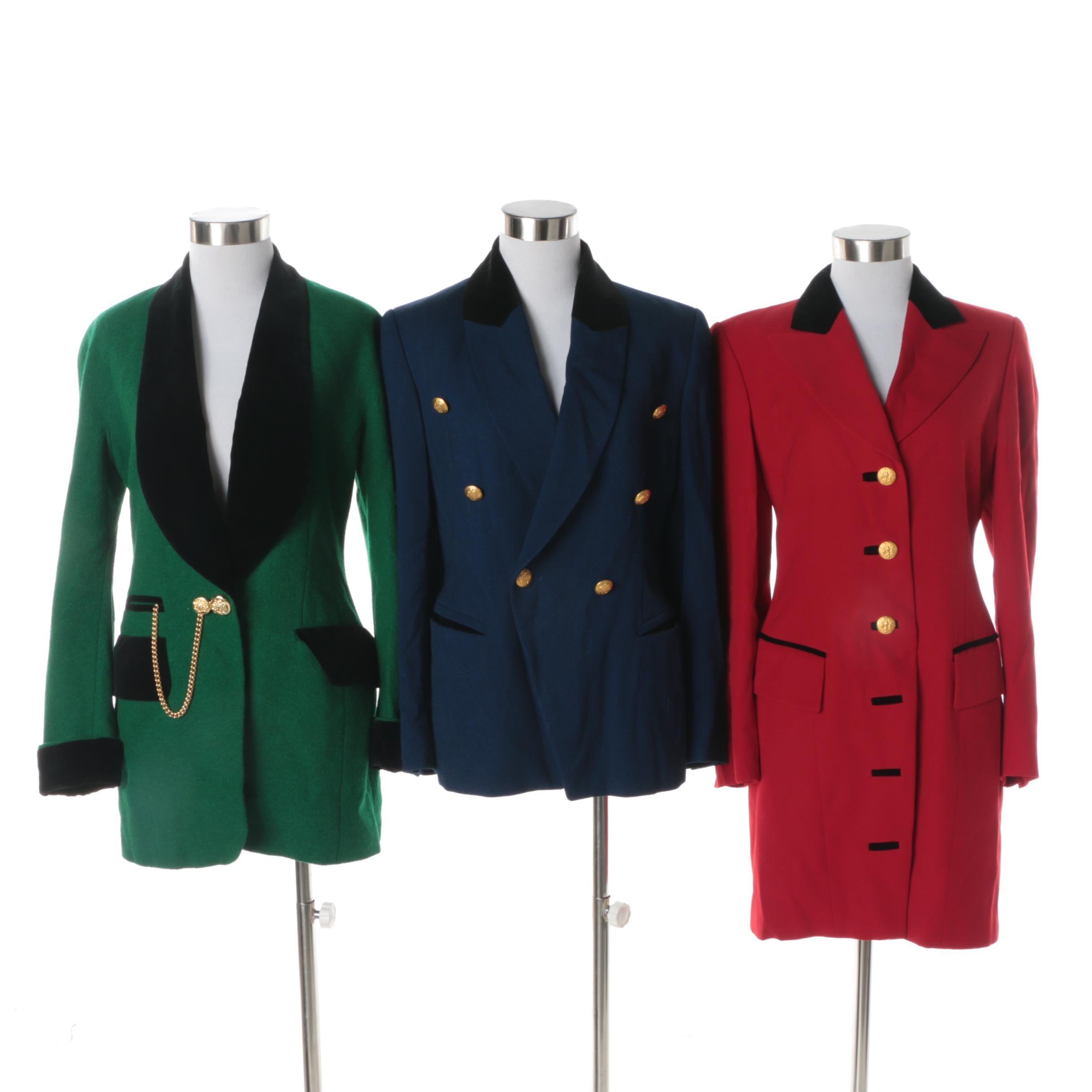 Women's Escada Margaretha Ley Wool and Wool Blend Jackets with Velvet Trim