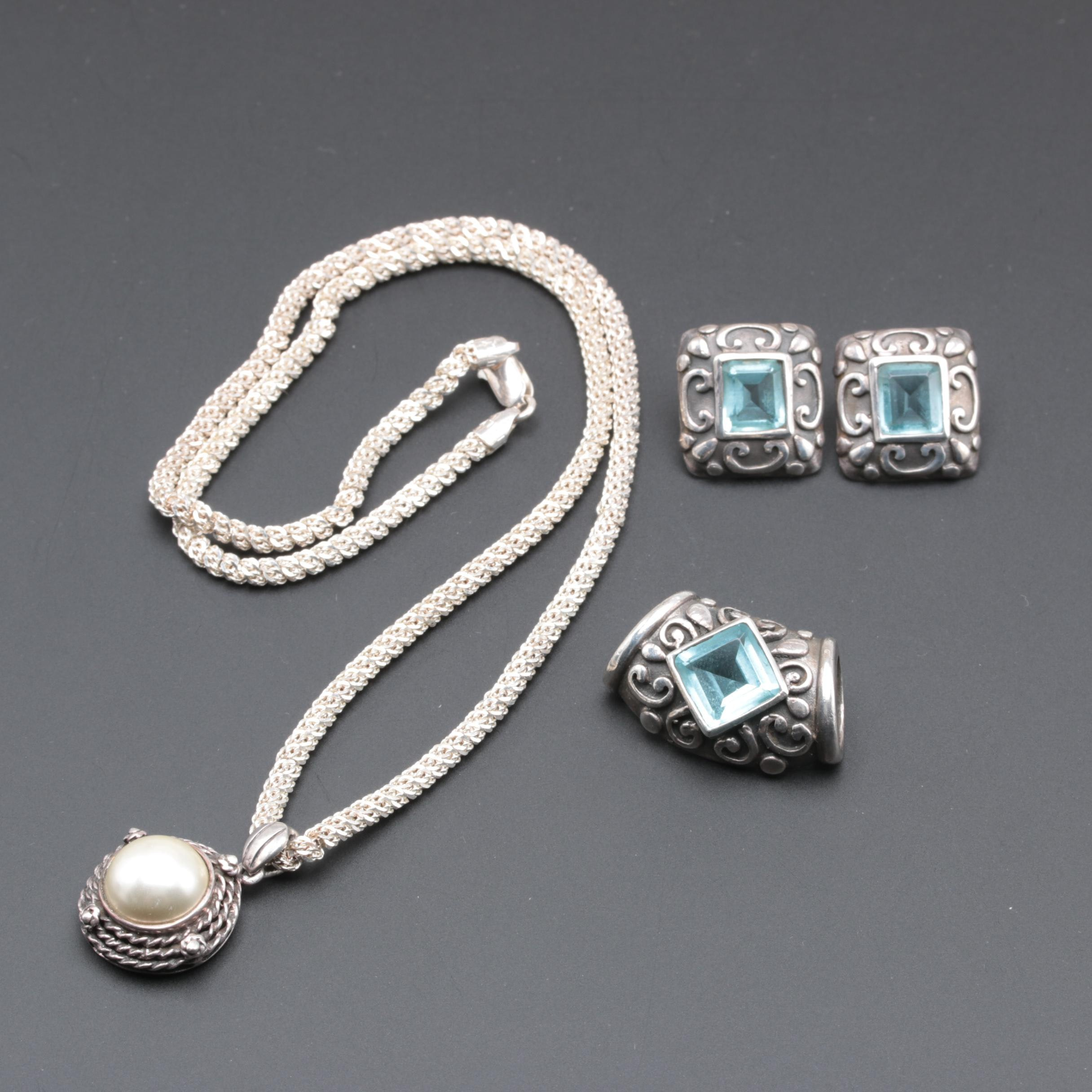 Sterling Silver Imitation Pearl Necklace With Blue Glass Demi Parure