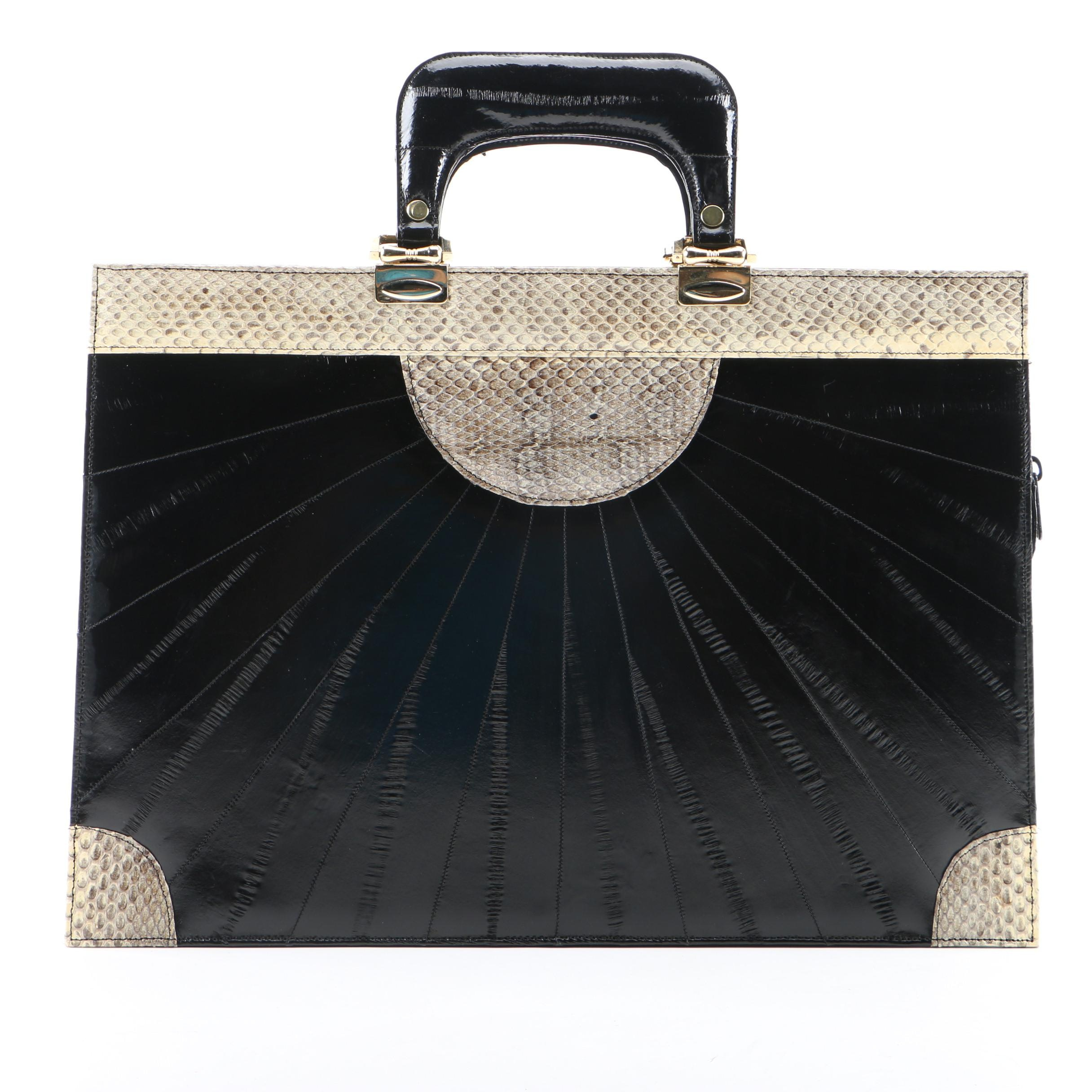 Vintage Èlan of California Black Eel Skin and Snakeskin Briefcase