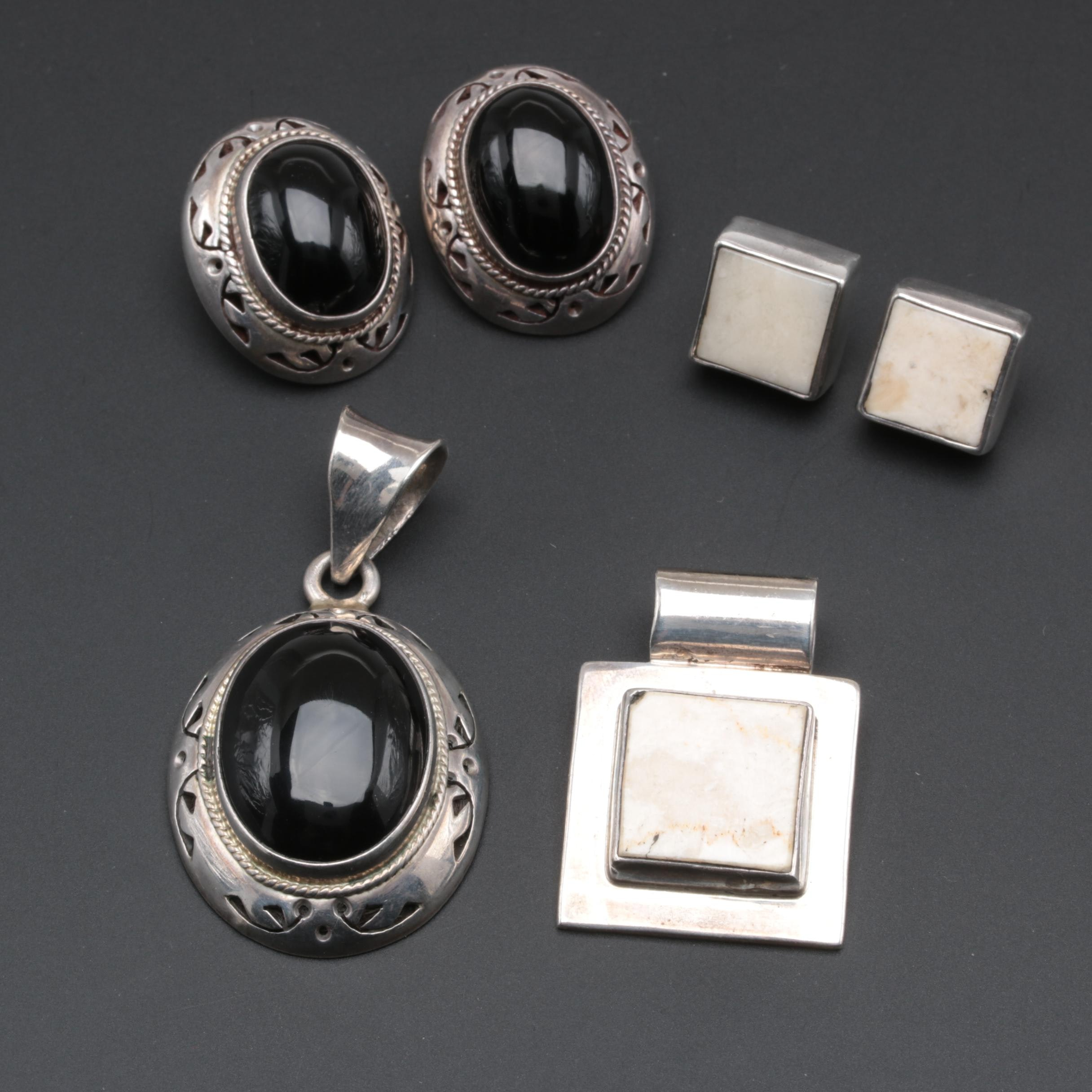Mexican Sterling Silver Gemstone Earrings and Pendants
