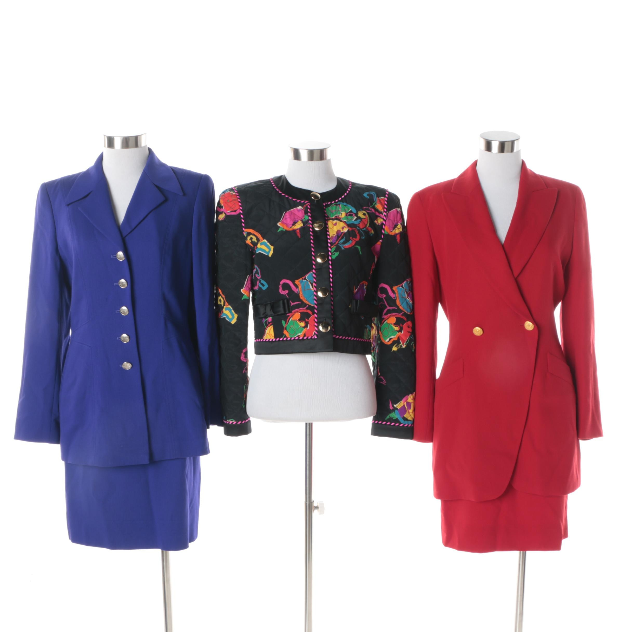 Escada Red and Purple Skirt Suits with Quilted Silk Cropped Jacket