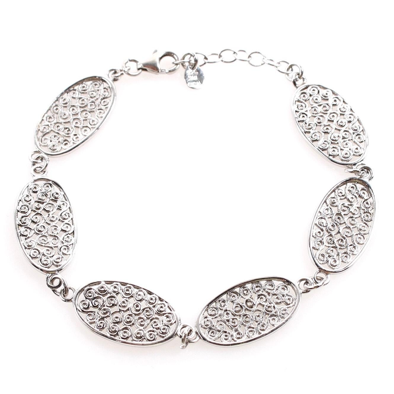 Sterling Silver Filigreed Link Bracelet