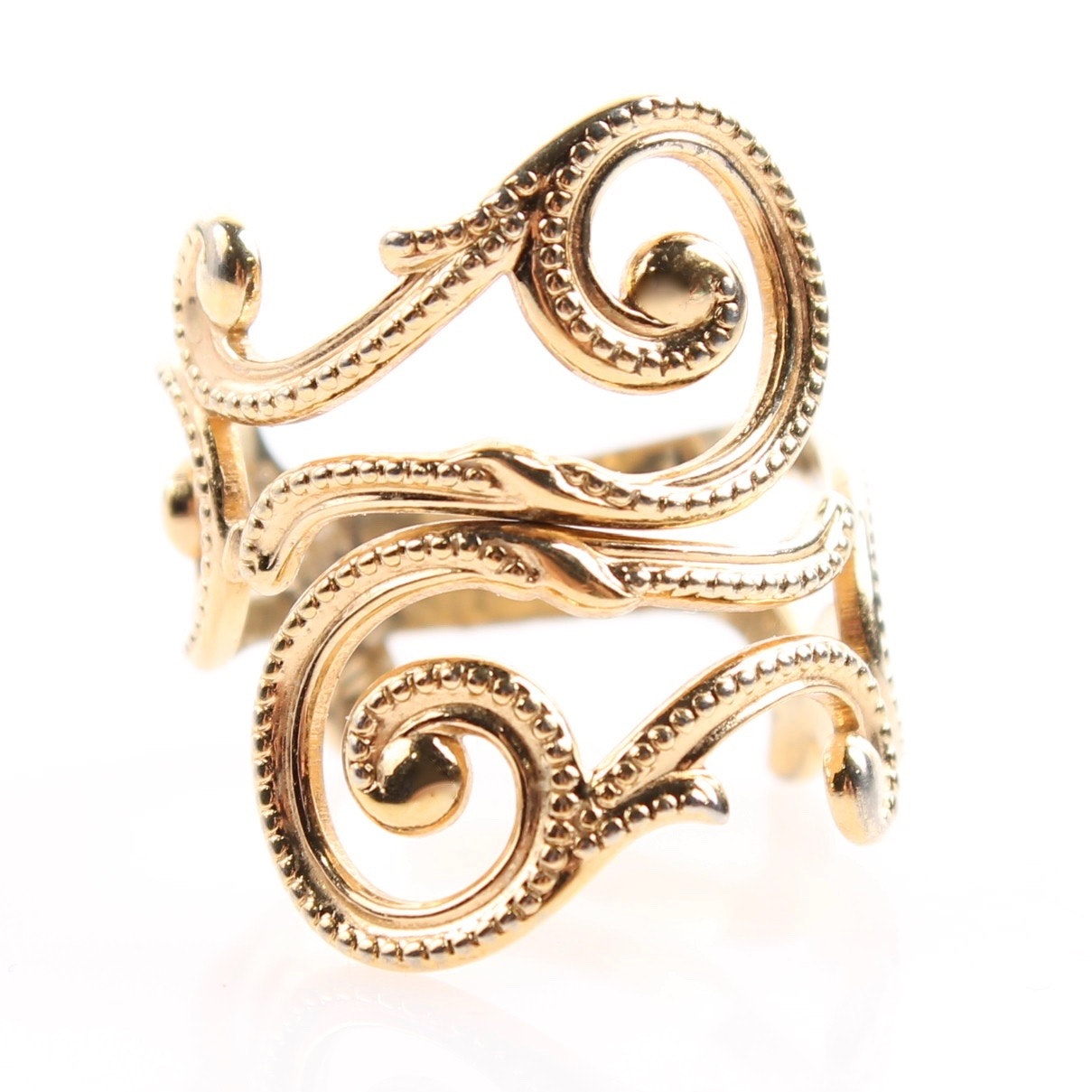 Beau Sterling Gold Wash on Sterling Silver Scrolling Ring