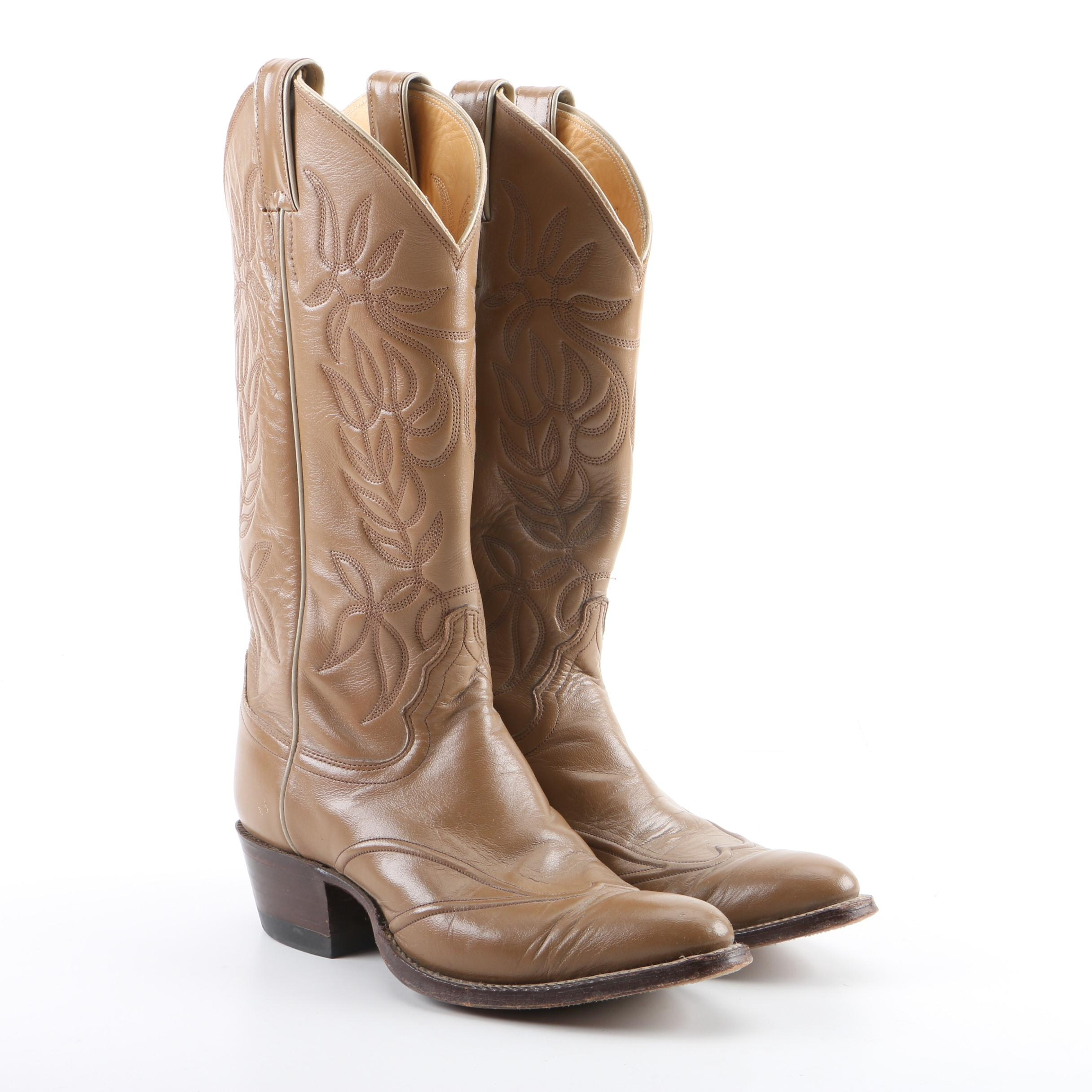 Women's Justin Tan Leather Western Boots