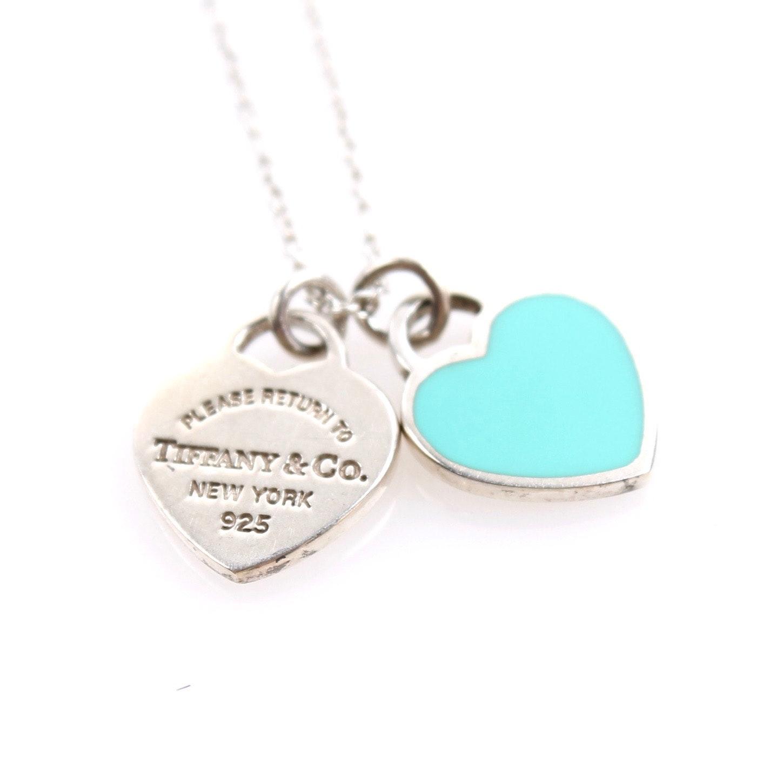 Tiffany & Co. Sterling Silver Enamel Heart Pendant Necklace