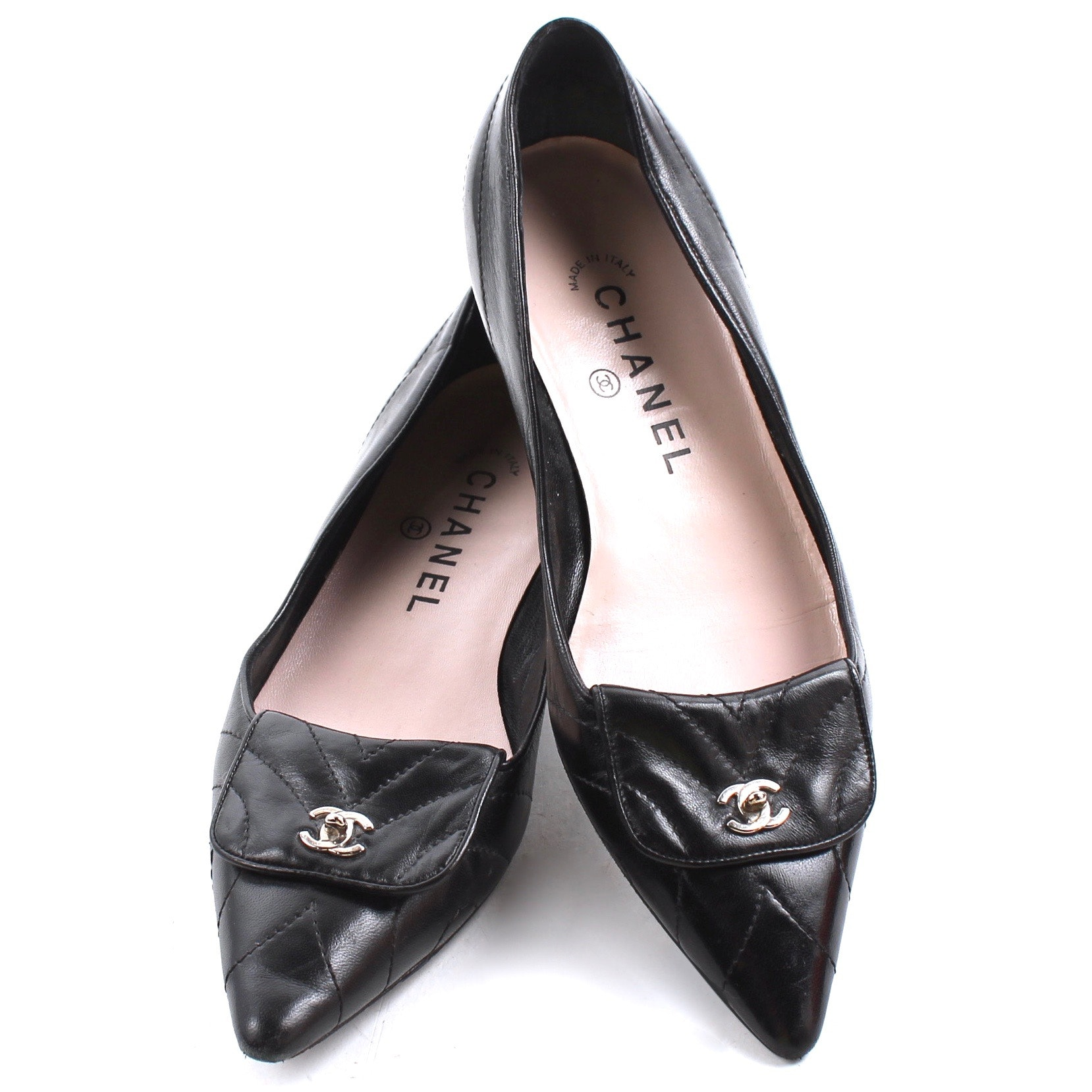Chanel Black Leather Quilted Point Toe Ballet Flats