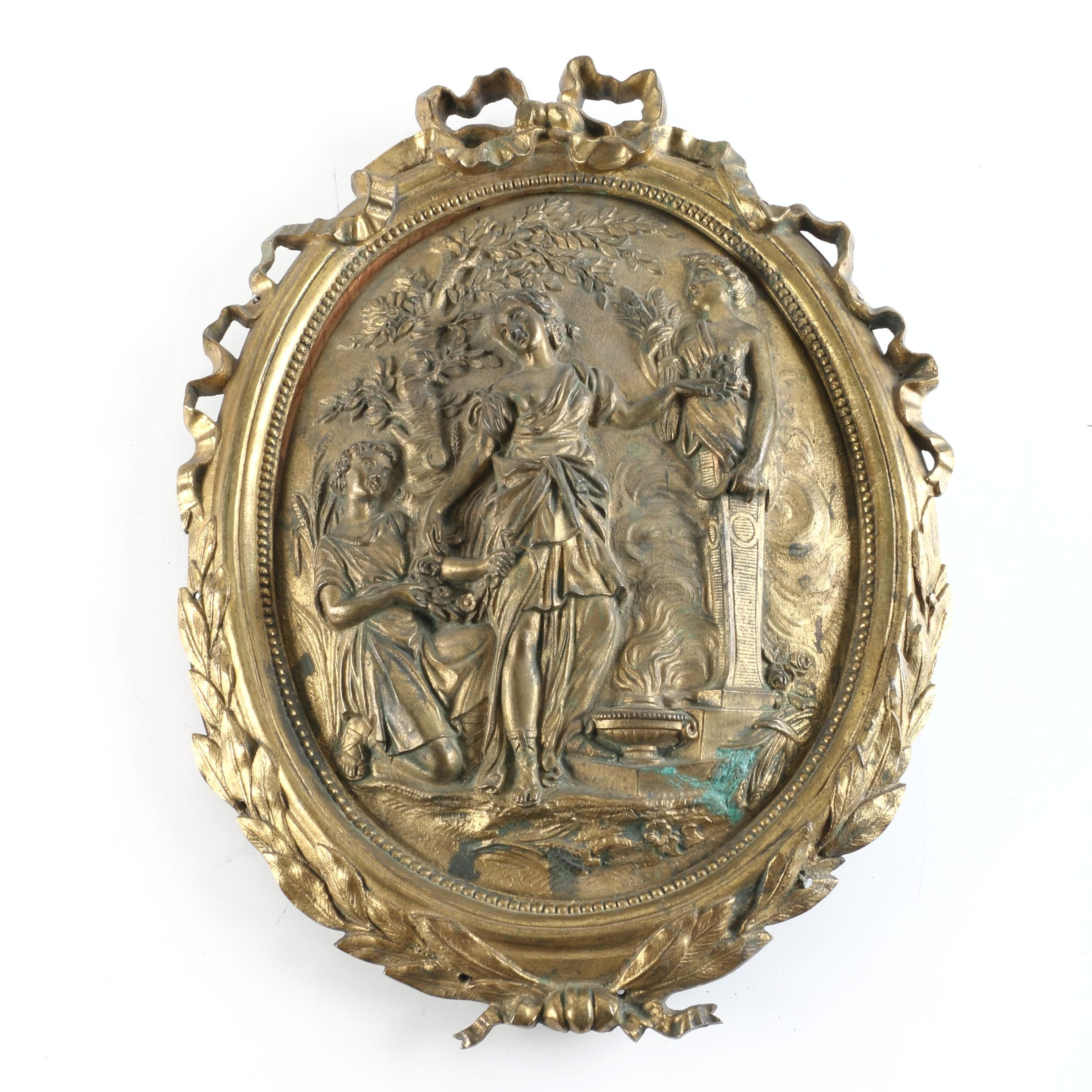 Brass Tone Wall Hanging in Relief of Classical Figures