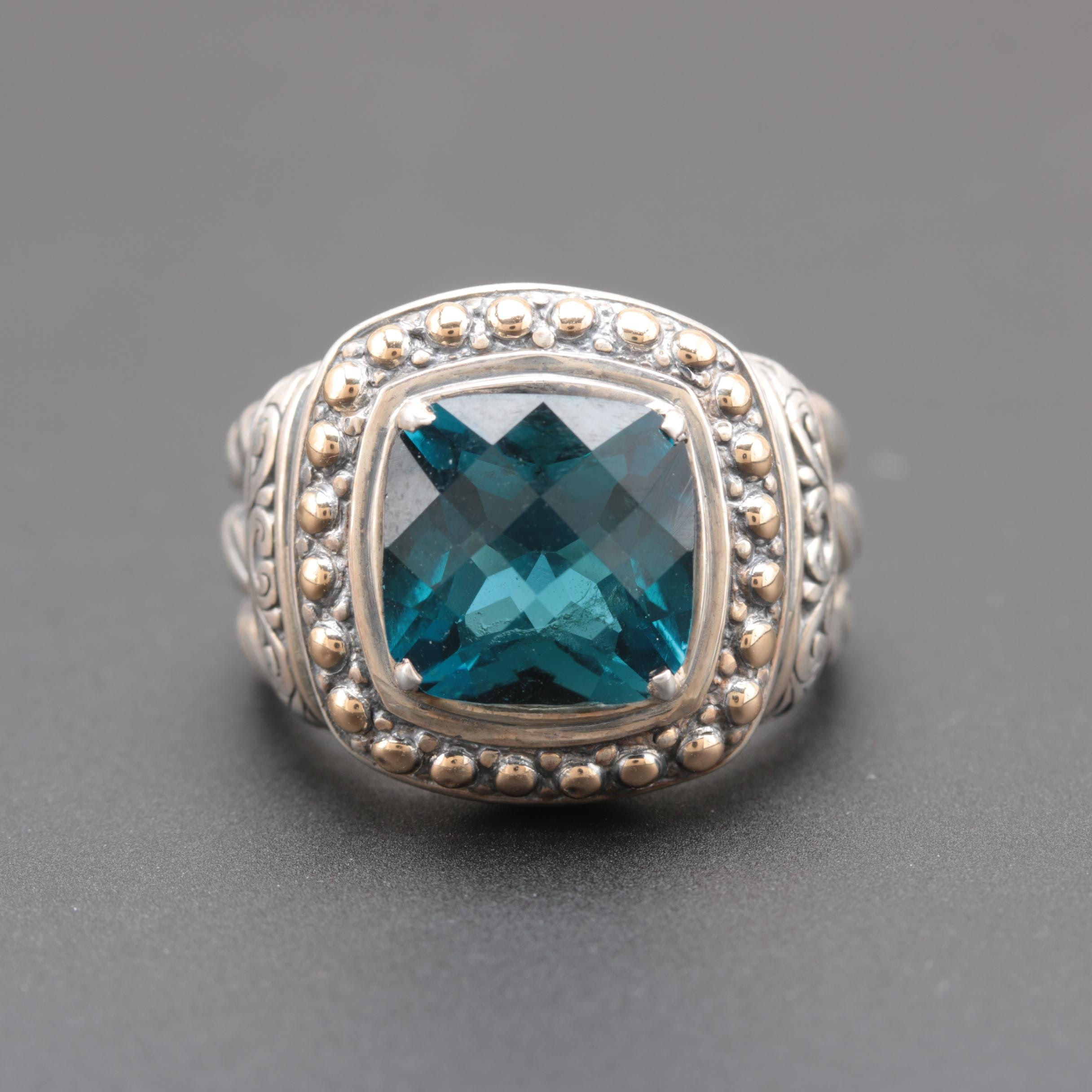 Sterling Silver London Blue Topaz Ring with 18K Yellow Gold Accents