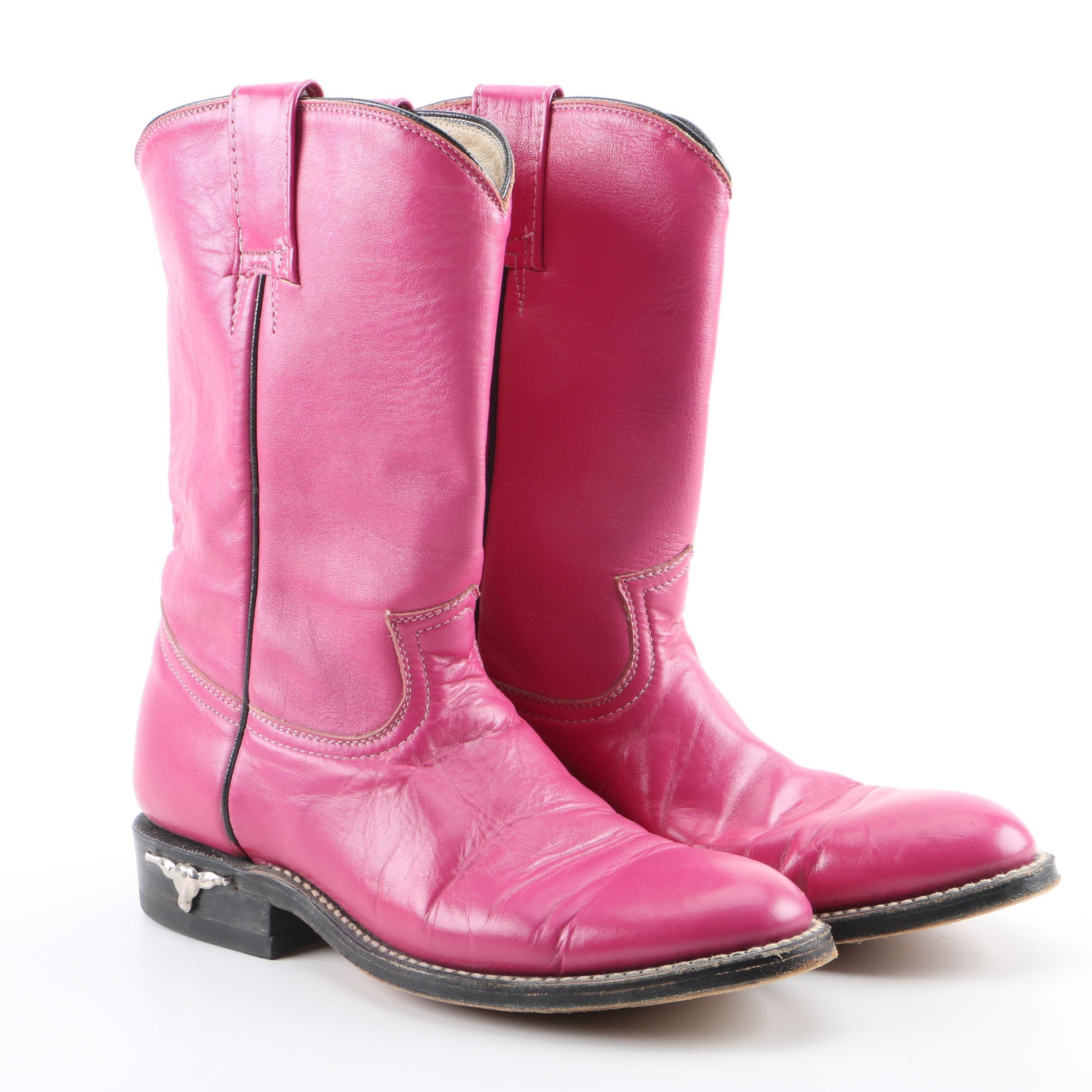 Women's Fuchsia Leather Western Boots