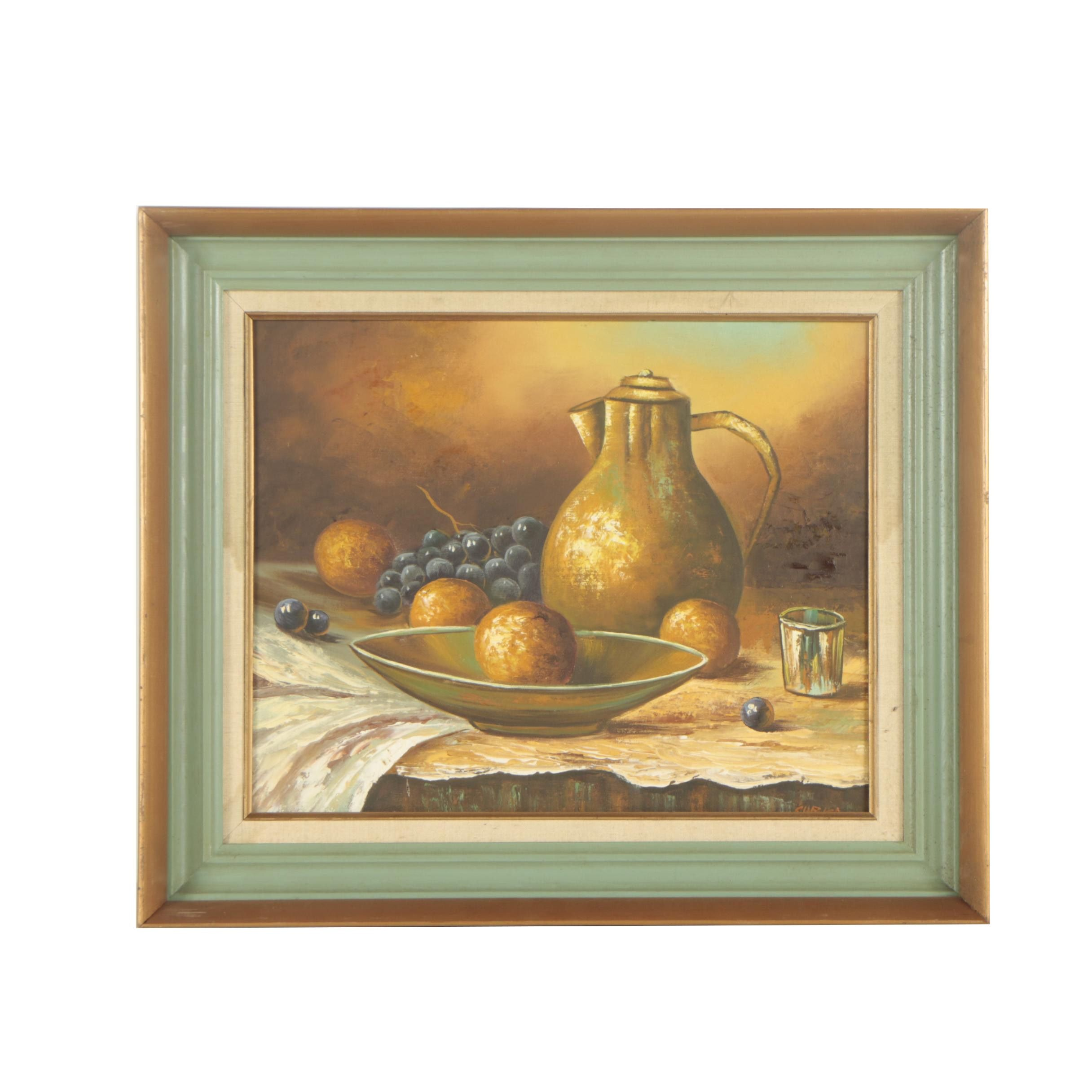 Curka Mid 20th Century Oil Painting of a Still Life