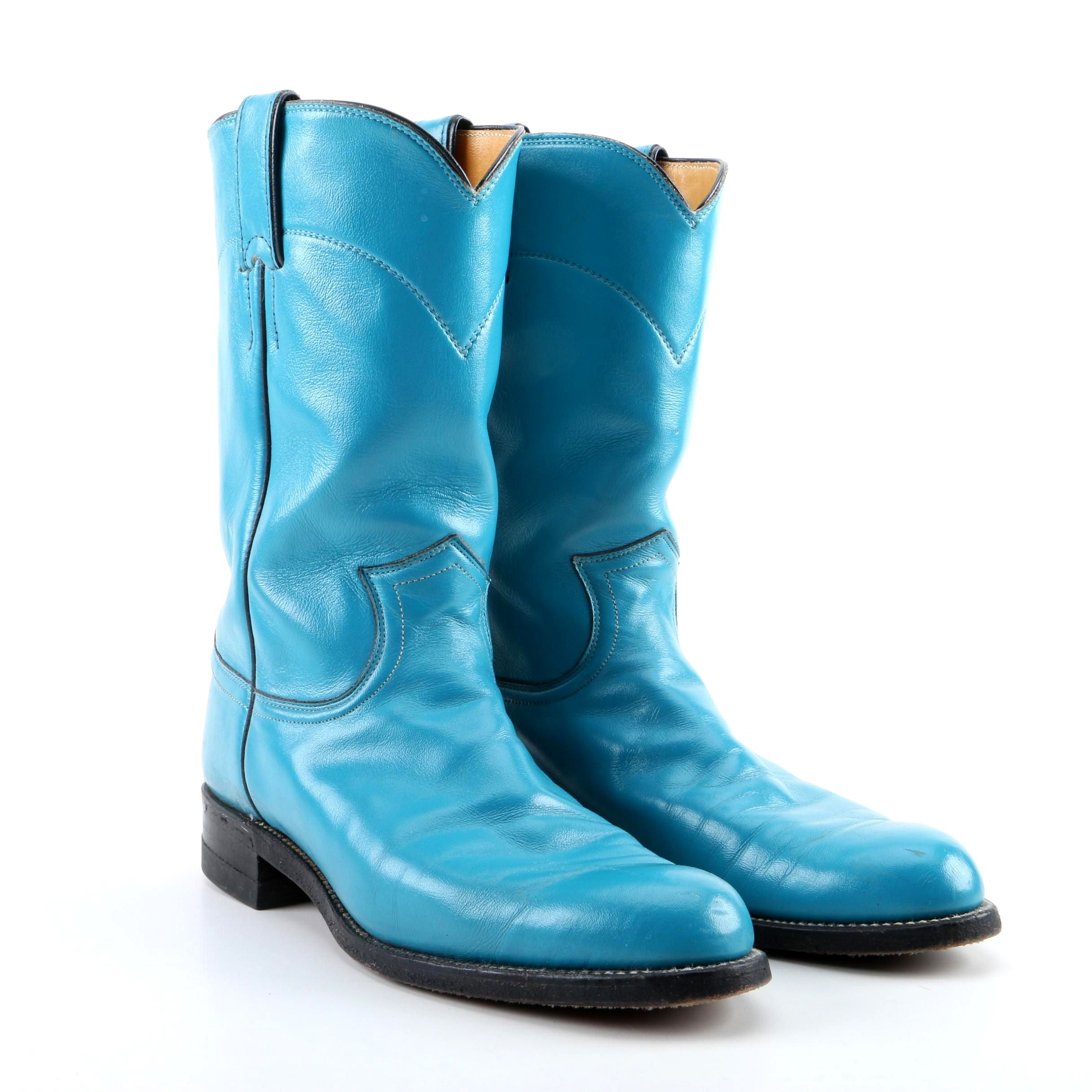 Women's Justin Turquoise Leather Western Boots