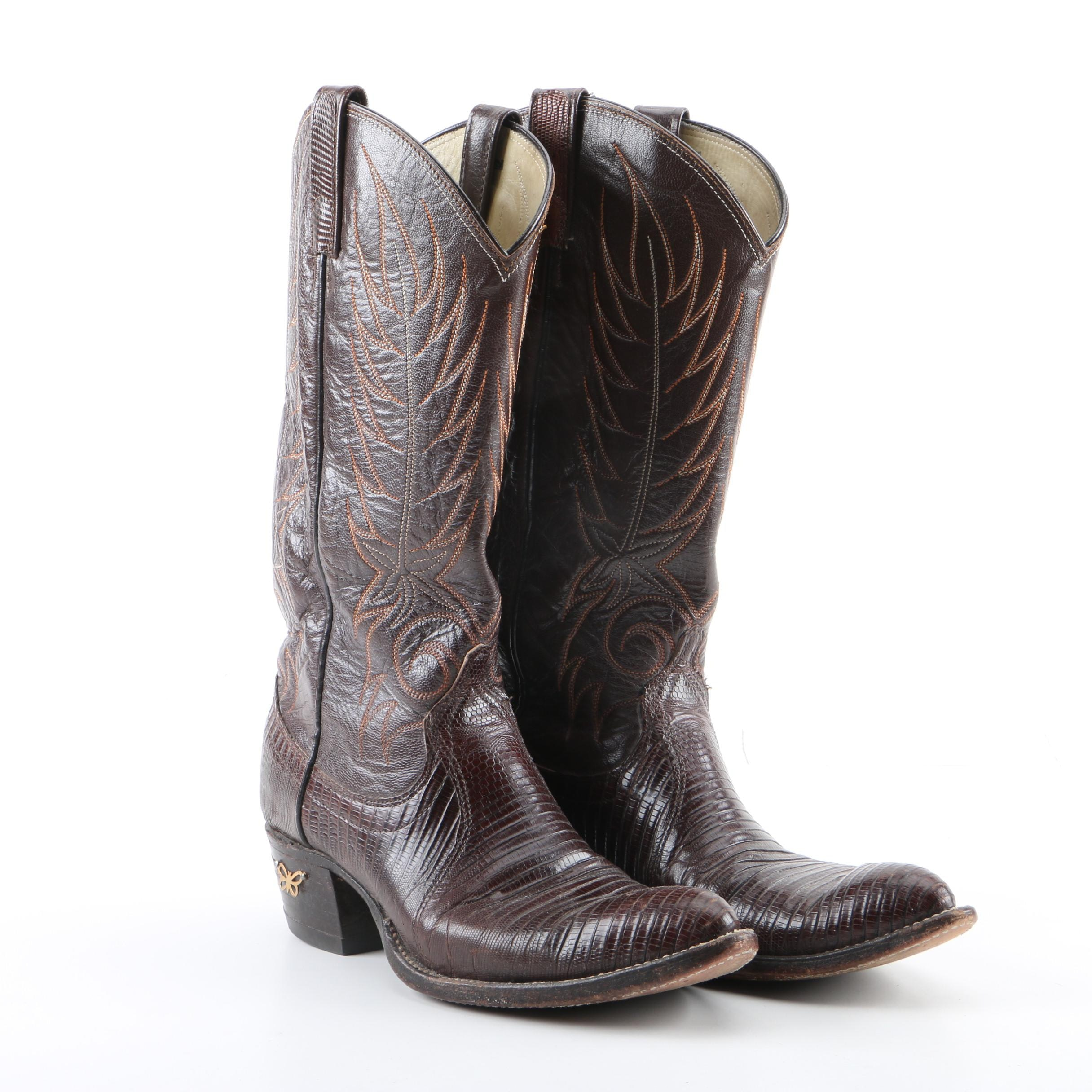 Women's Dan Post Brown Leather and Lizard Skin Western Boots