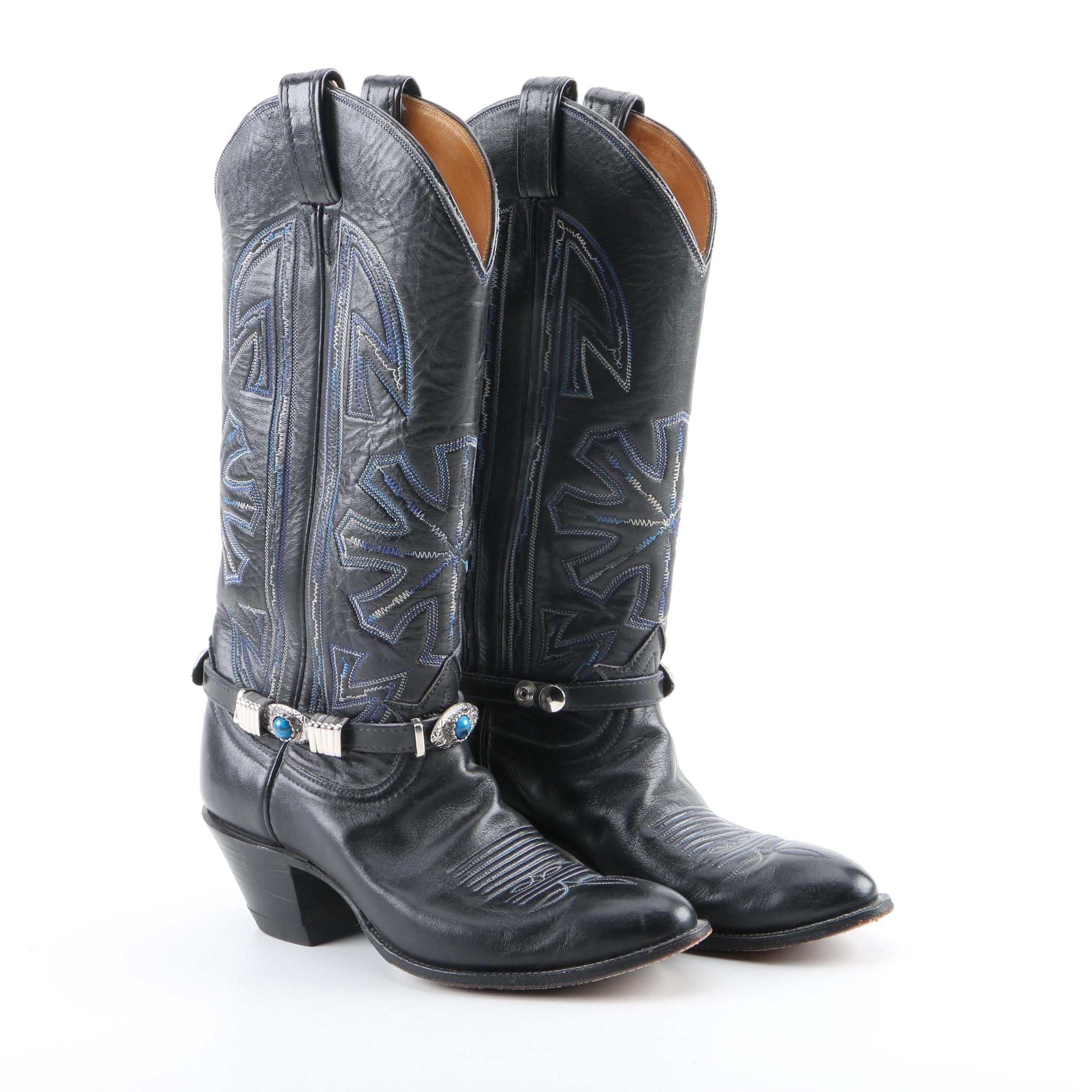 Women's Tony Lama Black Leather Western Boots