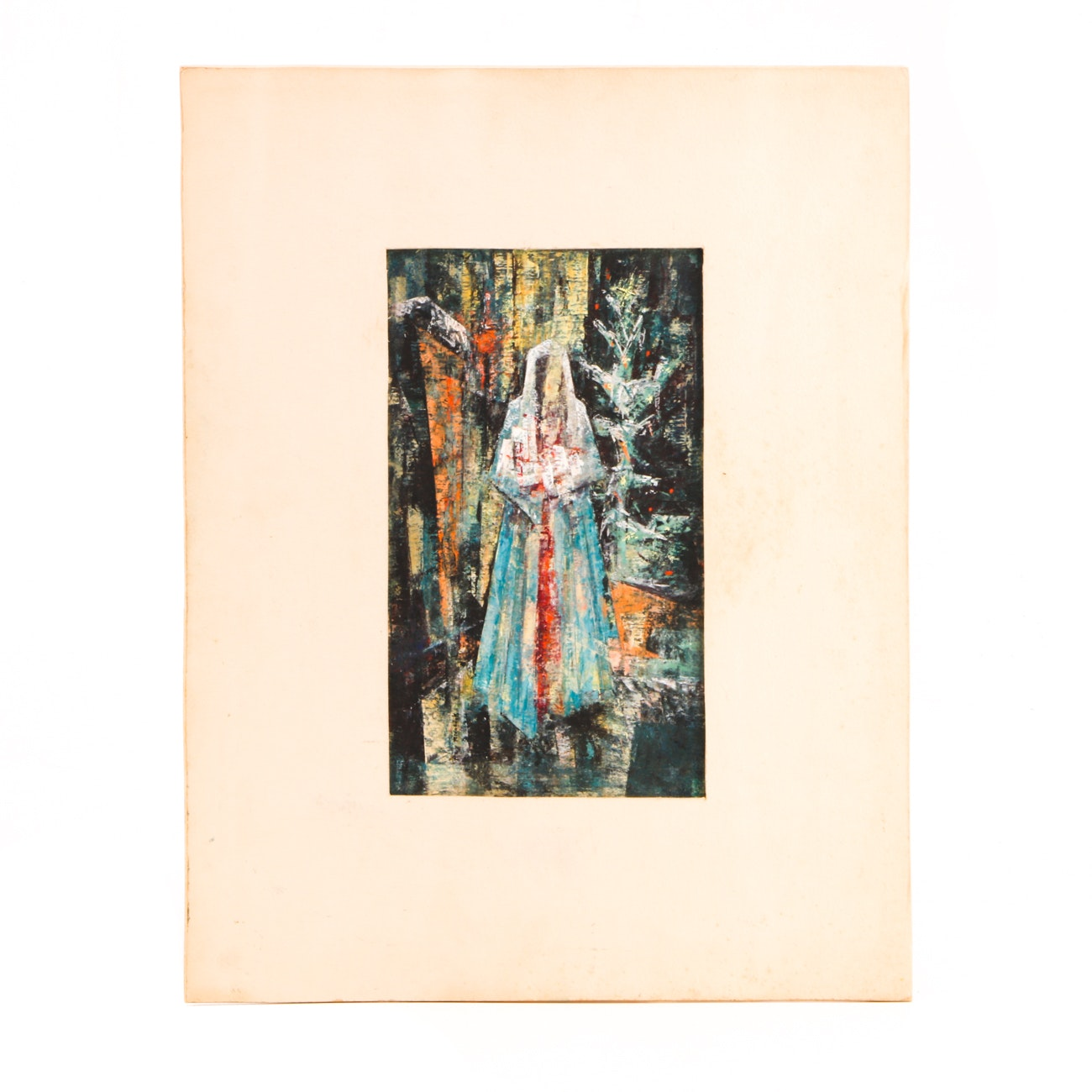 "Ray Ridabock Original Oil Pastel on Illustration Board ""Christmas Eve"""