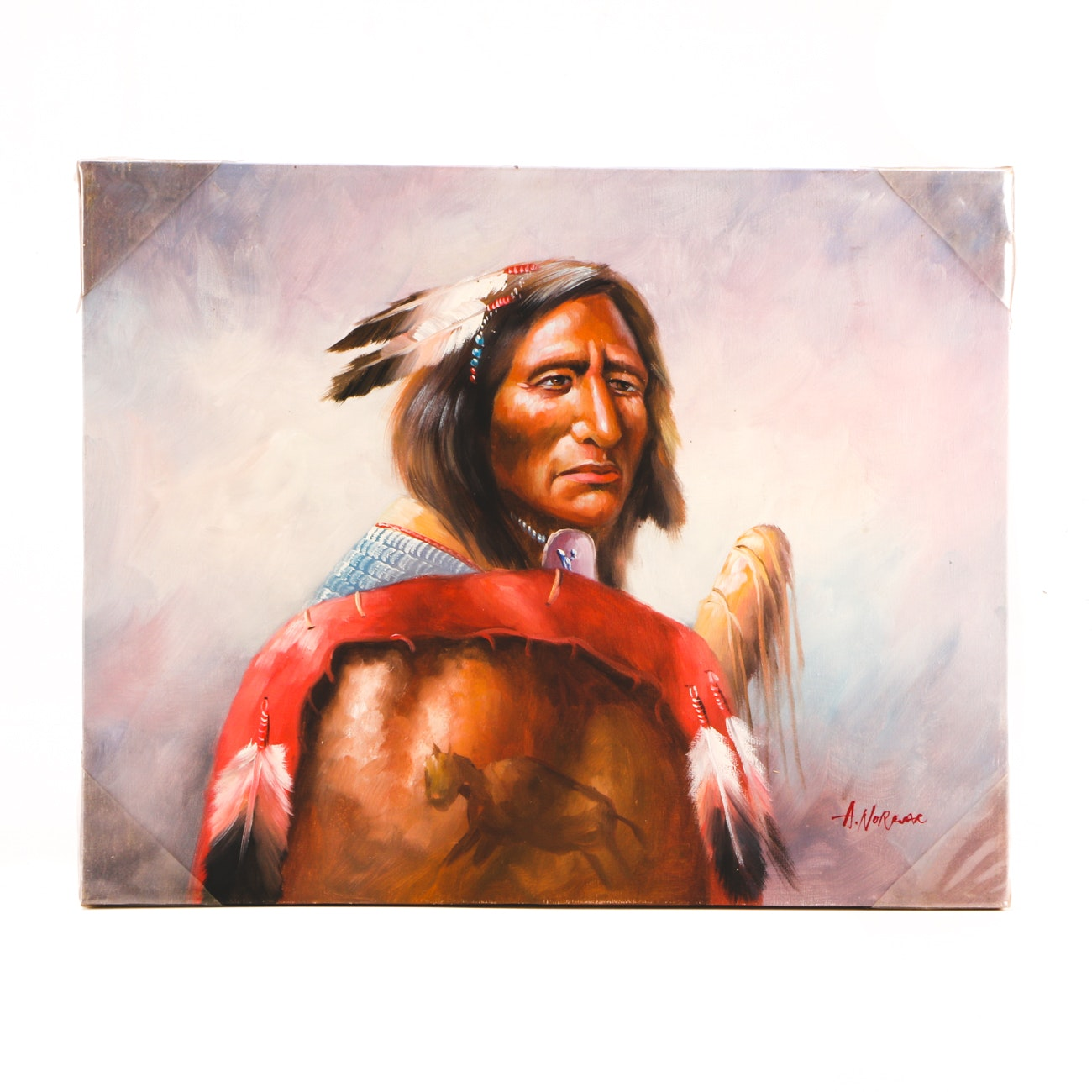 A. Norwar Oil Painting on Canvas of Native American Brave