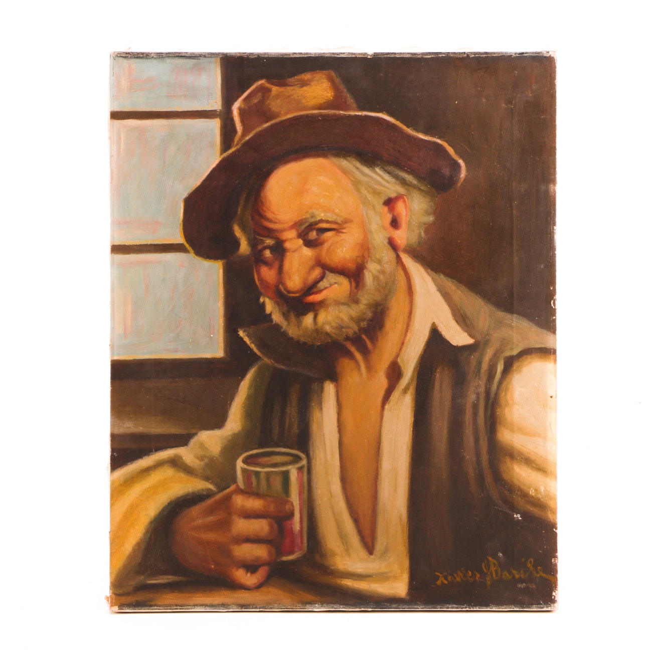 Xavier Barile Oil Painting on Canvas of a Man with a Drink