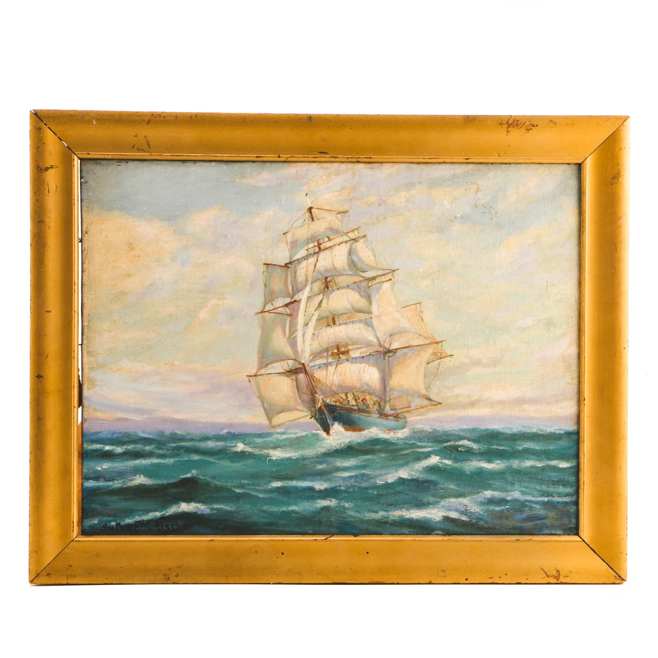 Anton Otto Fischer Oil on Canvas Board Nautical Painting
