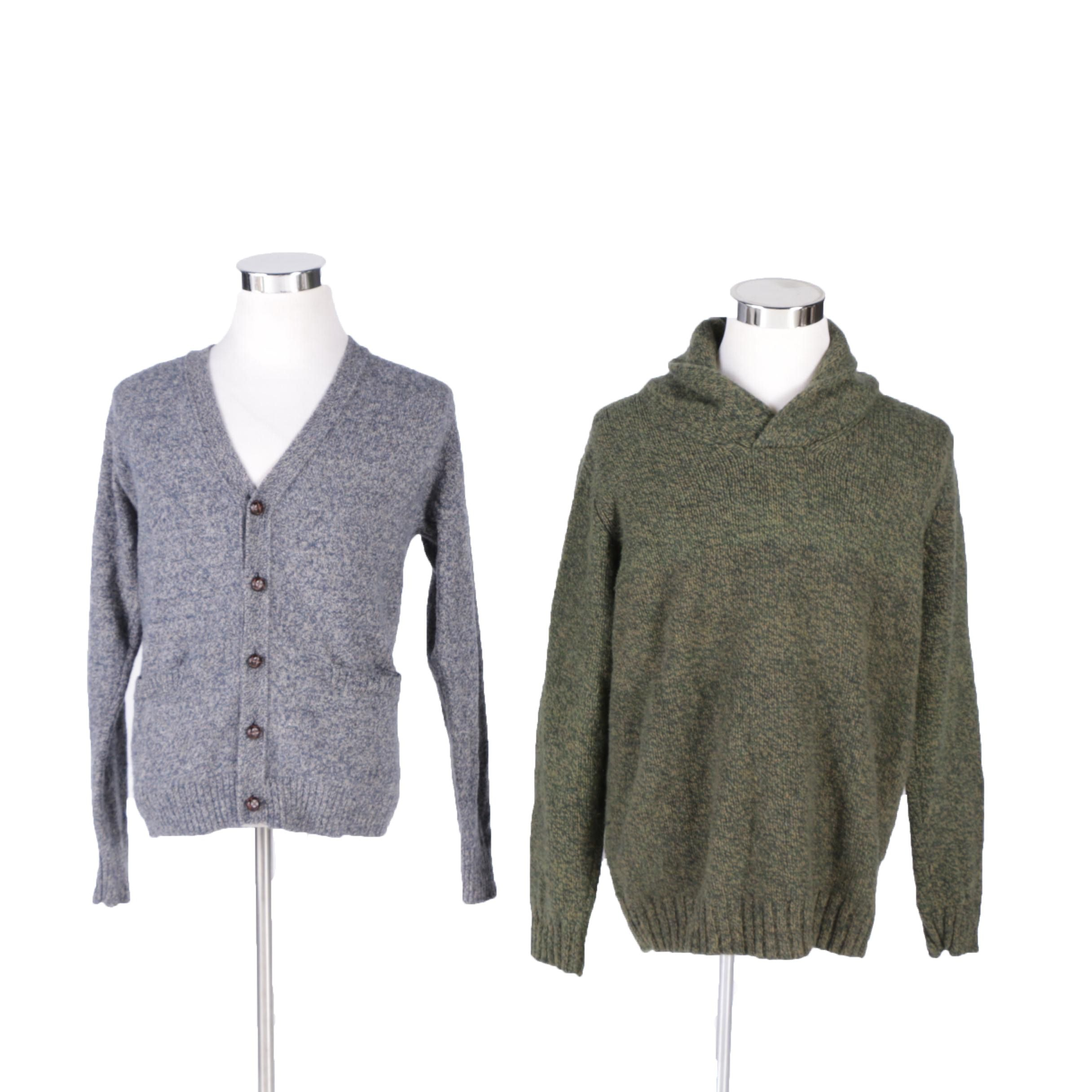 Men's Pendleton Grey Wool Cardigan and L.L. Bean Green Wool Pullover