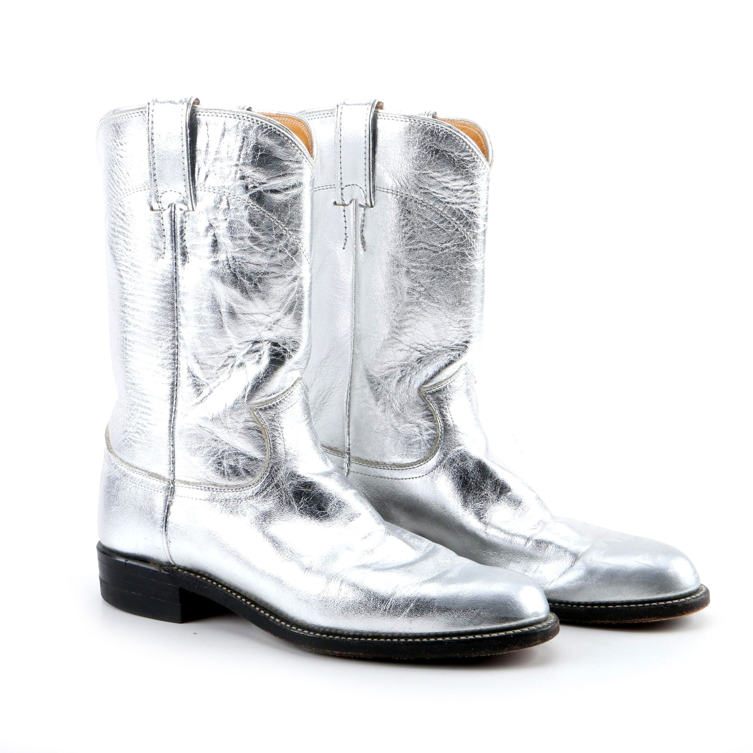 Women's Justin Metallic Silver Leather Western Boots