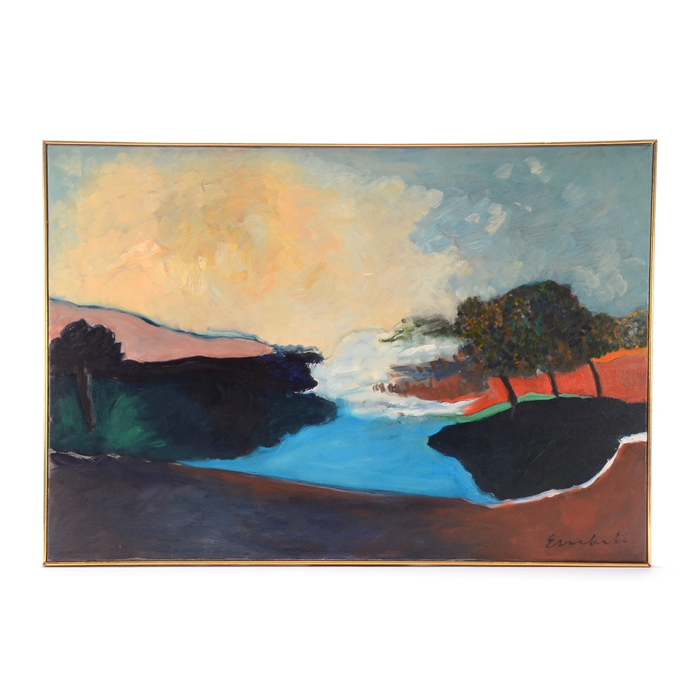 Beverly Erschell Original Modernist Oil Landscape on Canvas