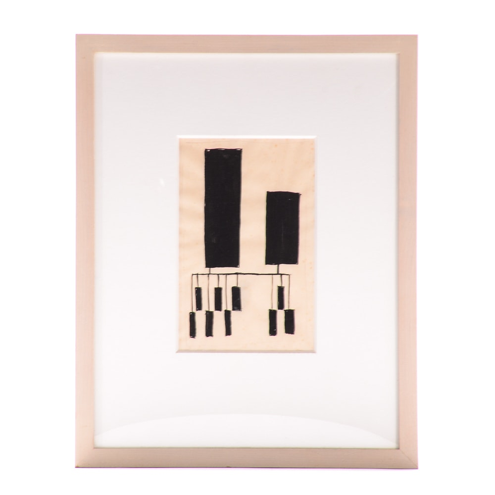 Geometric Abstraction Ink on Vellum in the Manner of Udo Koch