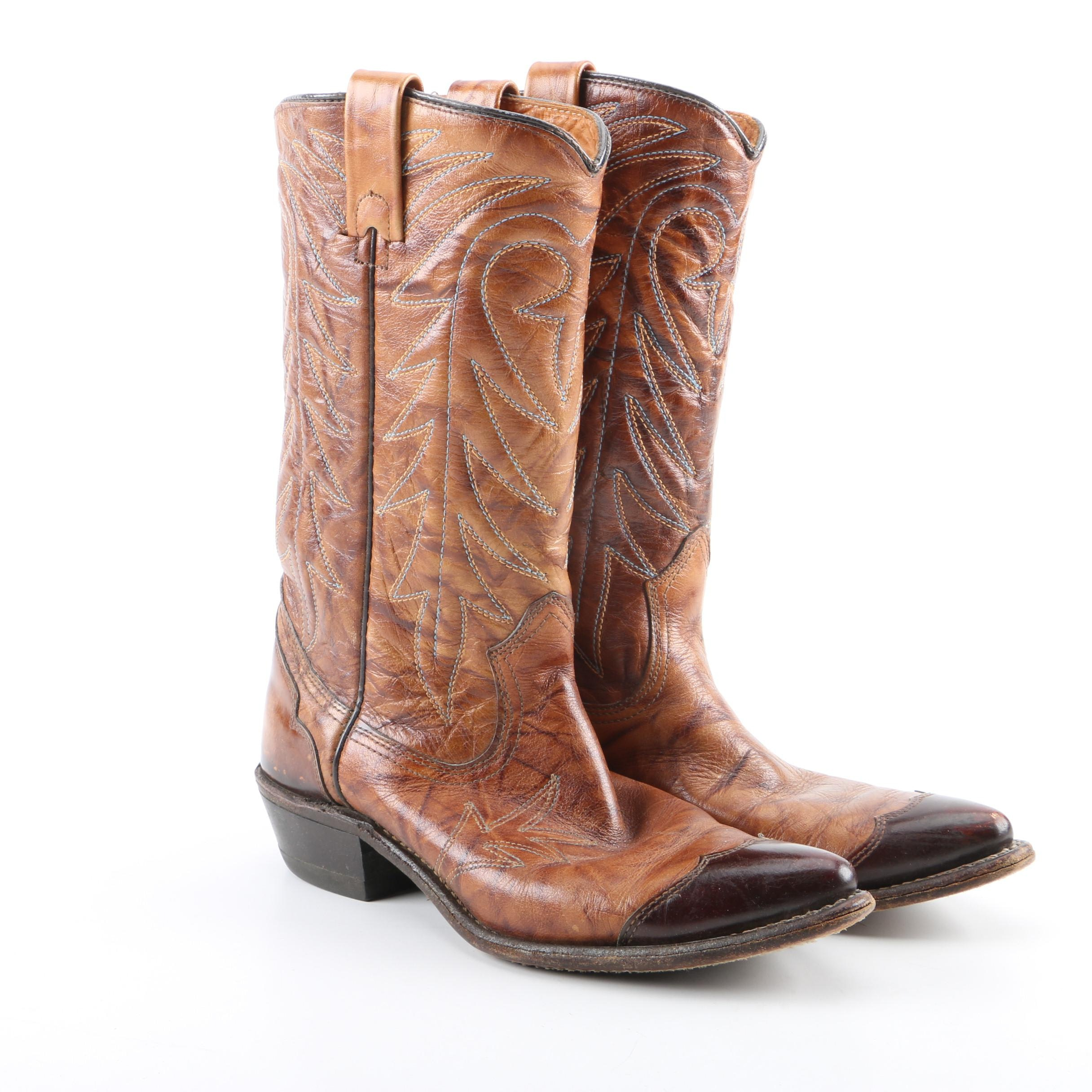 Women's Vintage Texas Imperial Brown Leather Western Boots