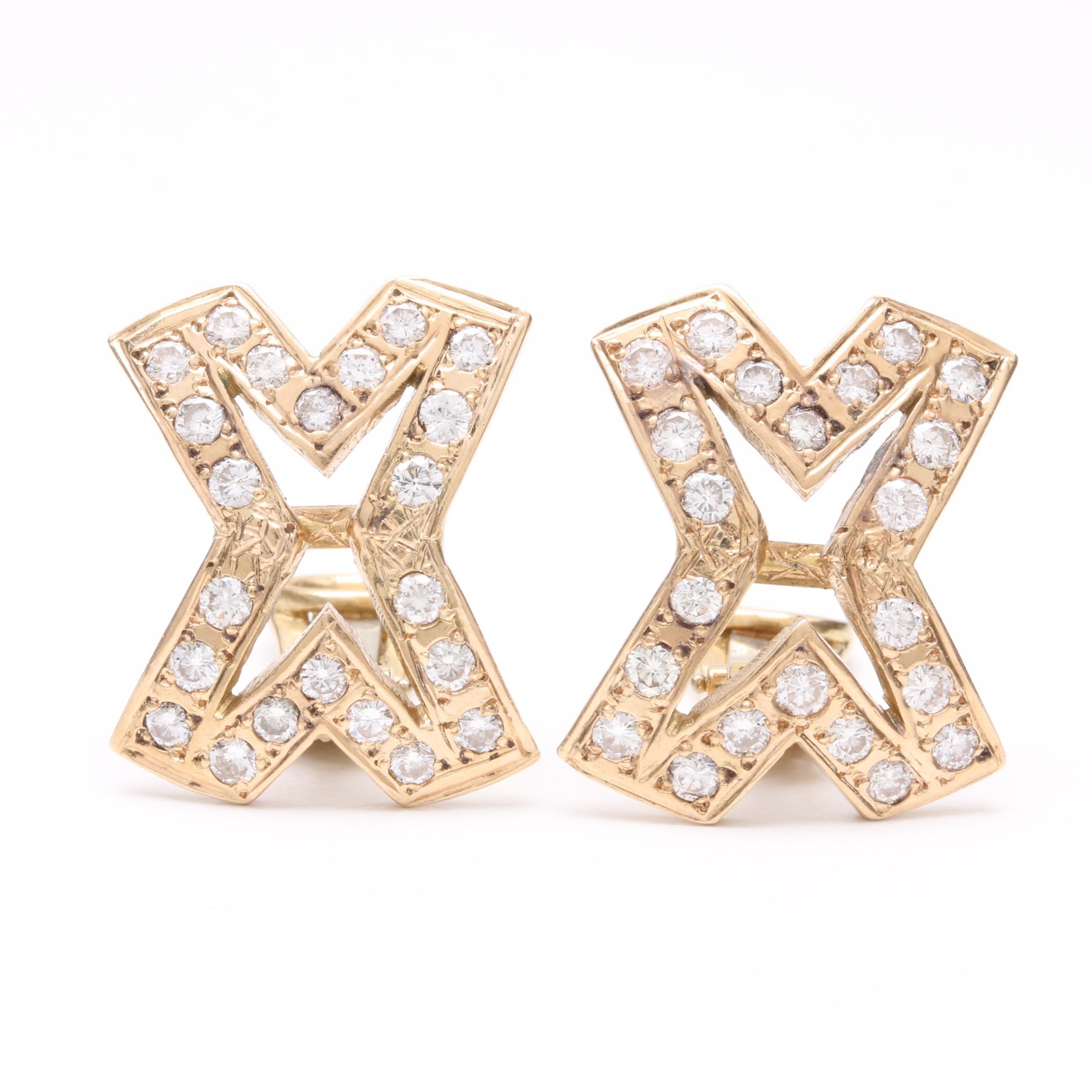 14K and 18K Yellow Gold 2.42 CTW Diamond Earrings