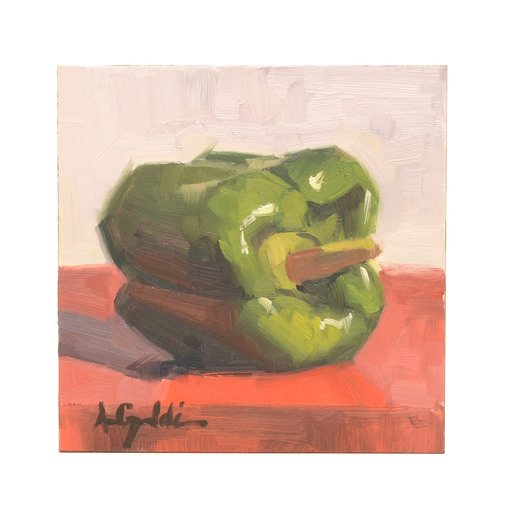 Ann Grimaldi Oil Painting Maonite of Green Pepper