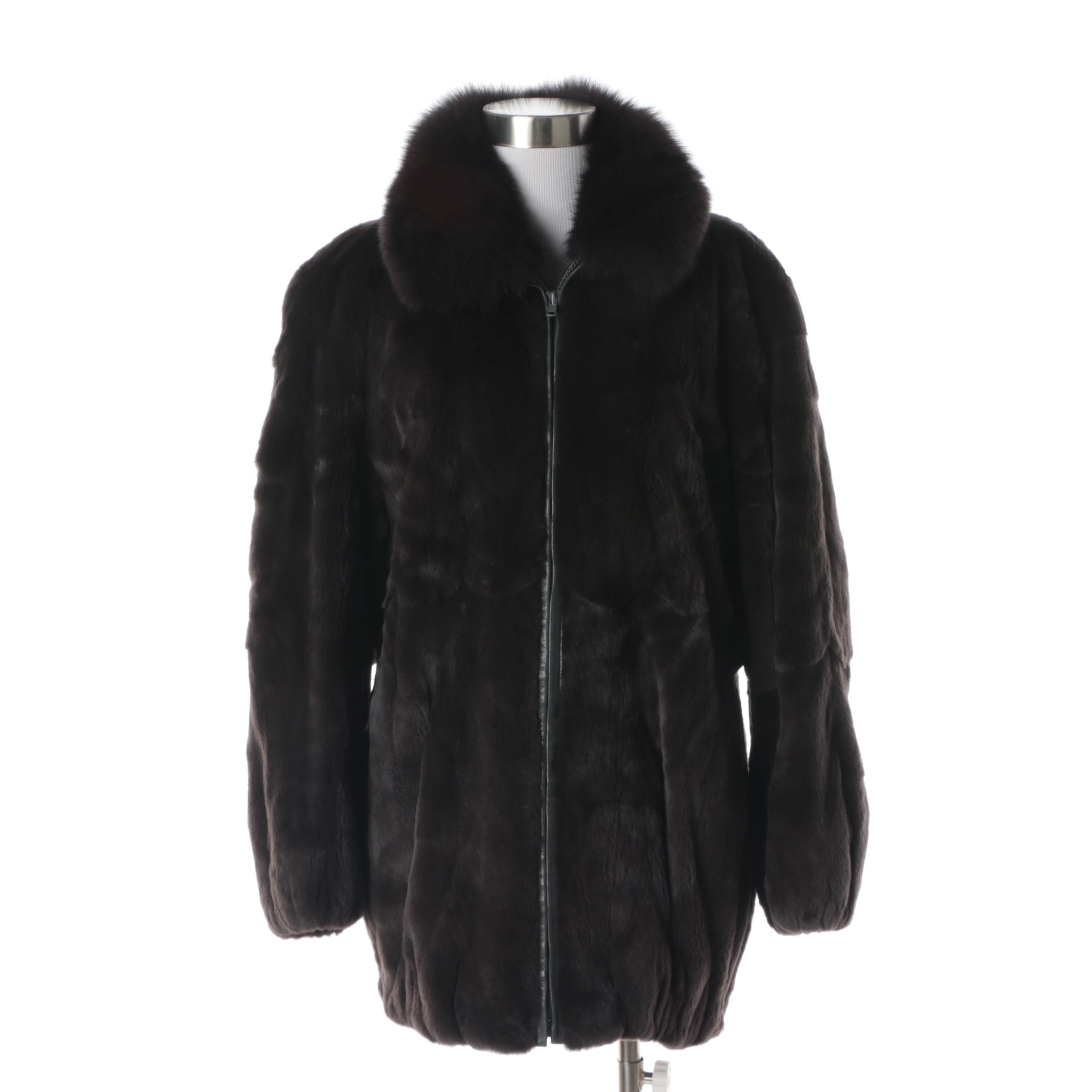 Women's Jay-Lennad Furs Dyed Sheared Rabbit Fur Coat with Fox Fur Collar