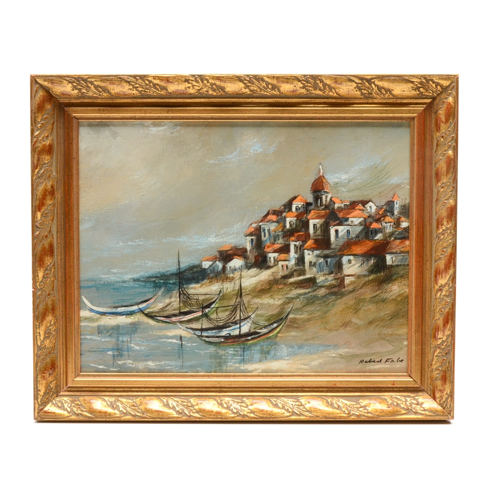 Robert Fabe Original Oil Painting on Canvas Board of Coastal Scene