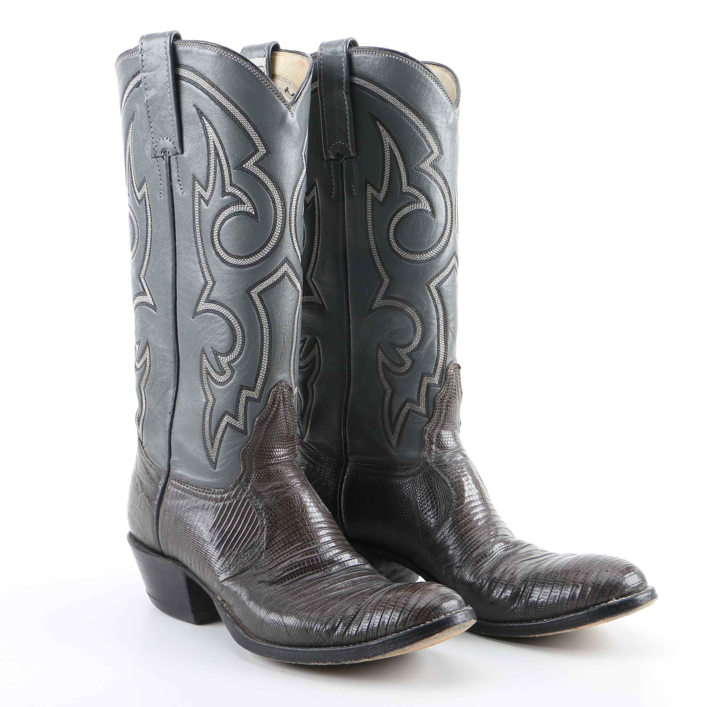 Women's Adams Boot Co. Grey Leather and Lizard Skin Western Boots