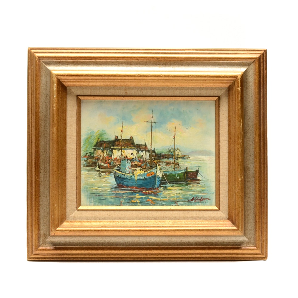 Signed Oil Painting on Academy Board of Harbor Scene