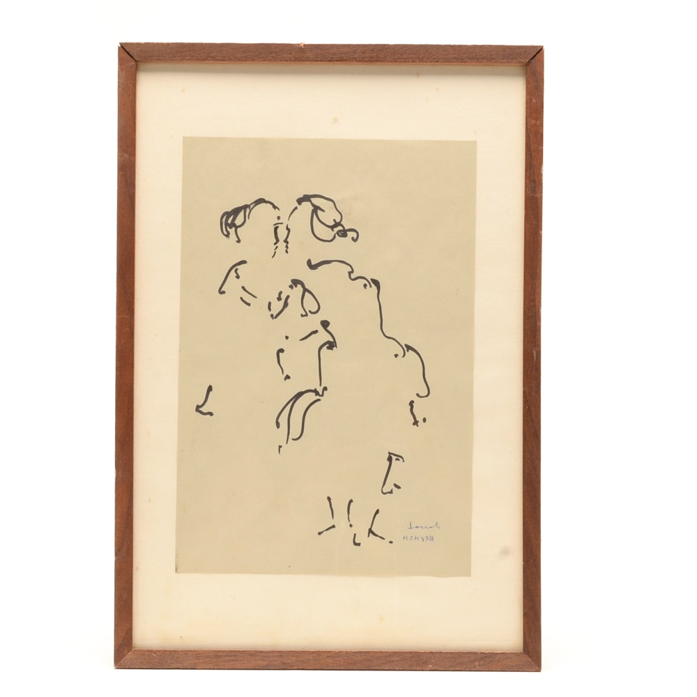 Signed Ink Drawing on Paper of Two Figures