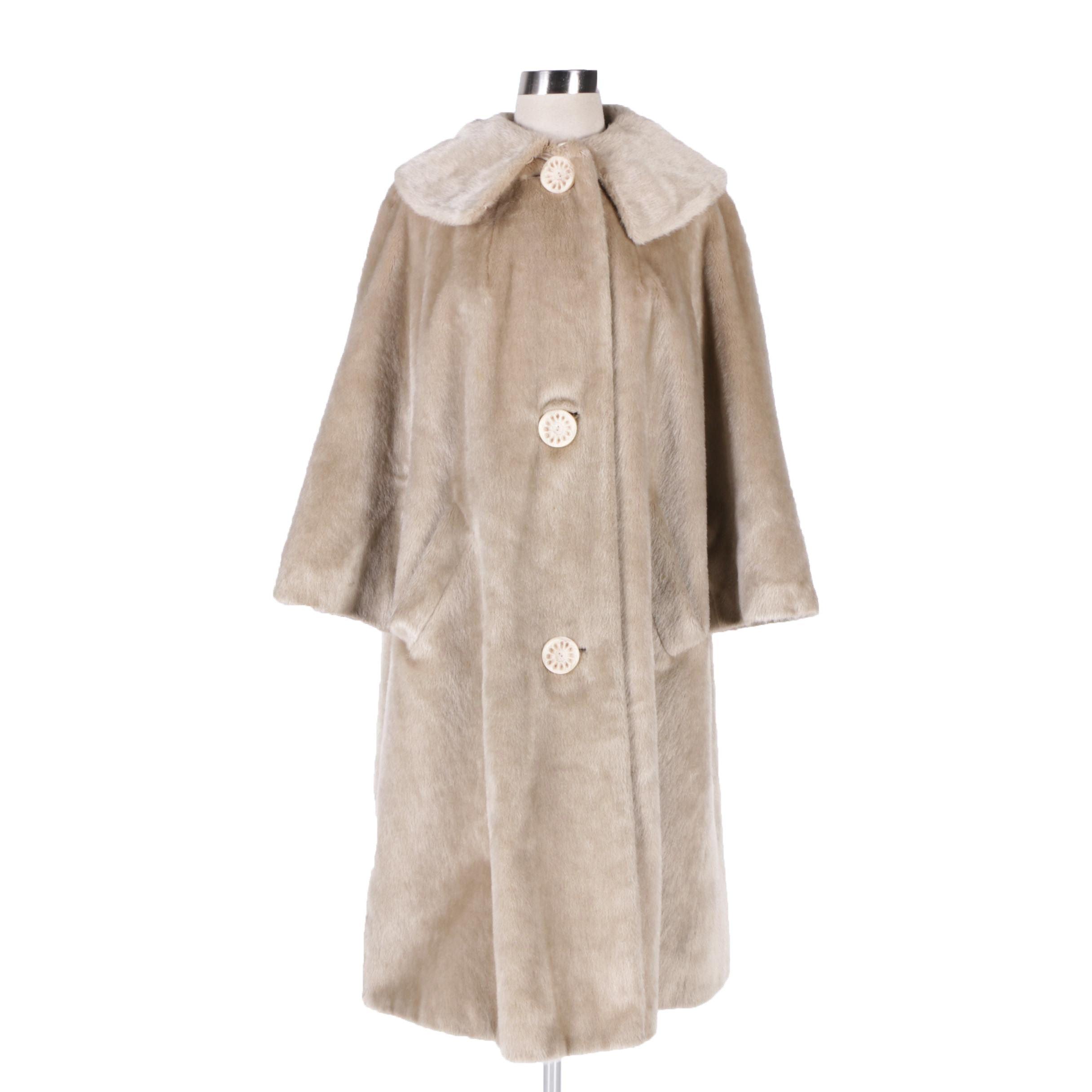 Women's Vintage Monnig's Brazotta by Sportowne Beige Faux Fur Coat