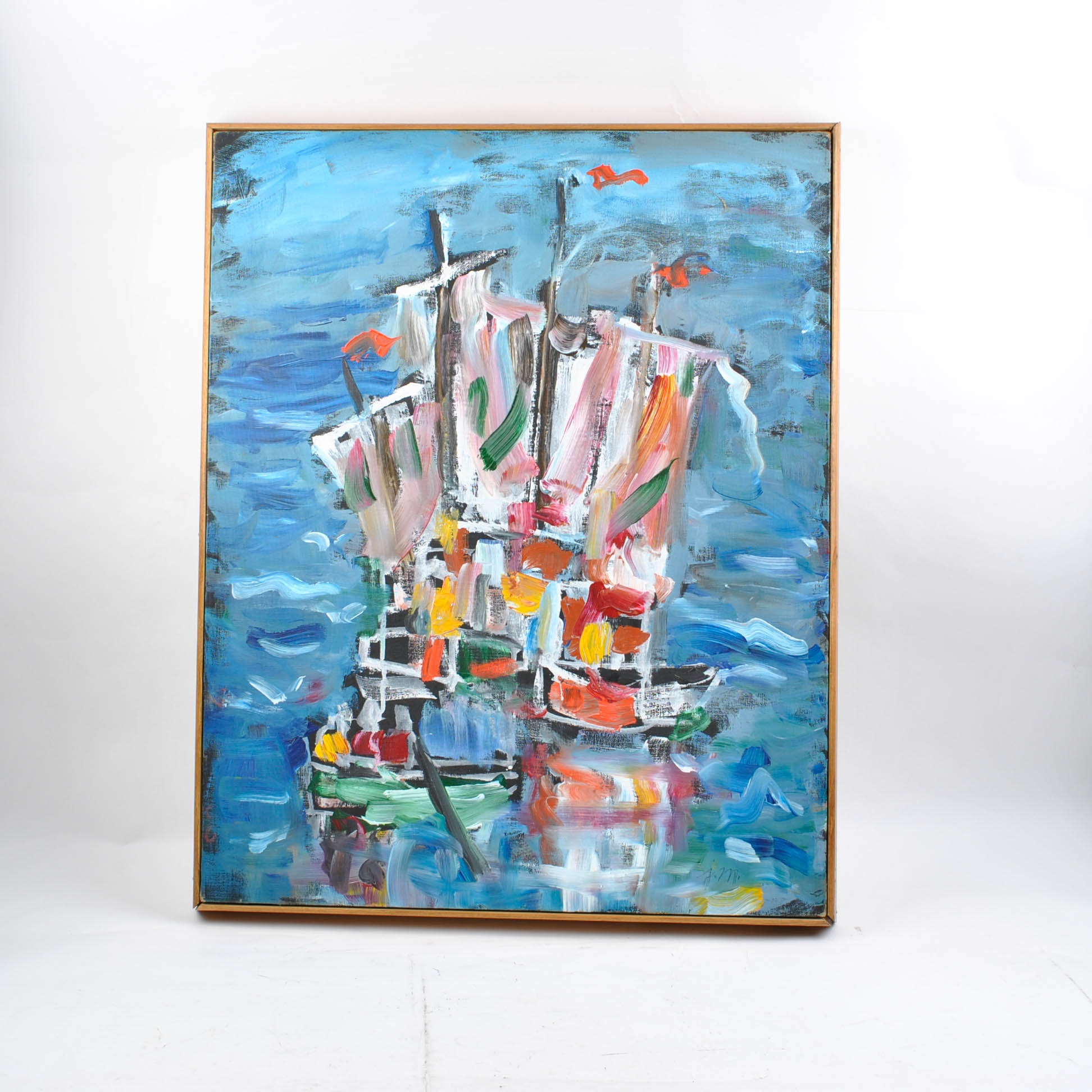 Abstract Oil Painting of Boat by Josephine Mahaffey