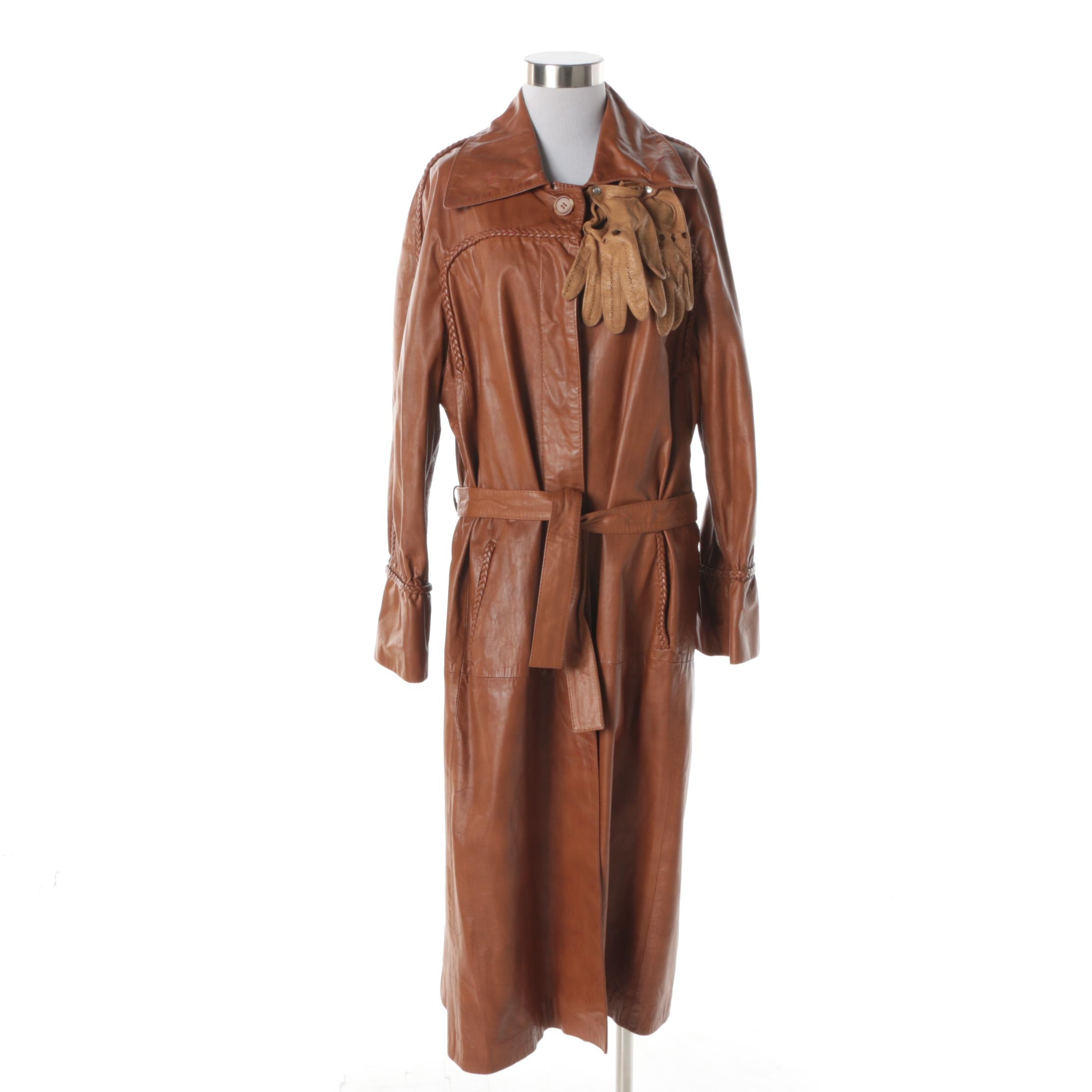 Women's Vintage Imperial Cognac Leather Coat with Tan Leather Driving Gloves