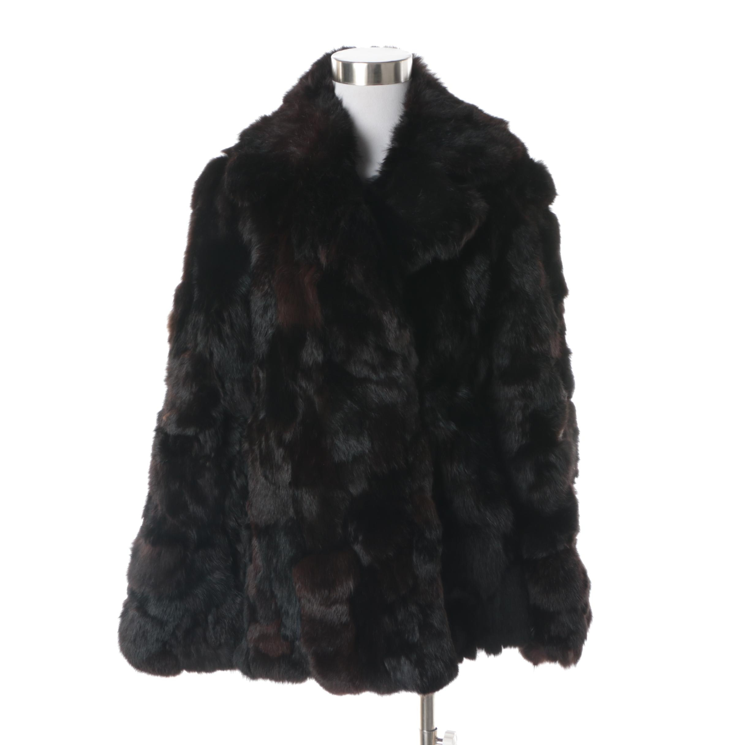 Women's Black and Brown Rabbit Fur Coat