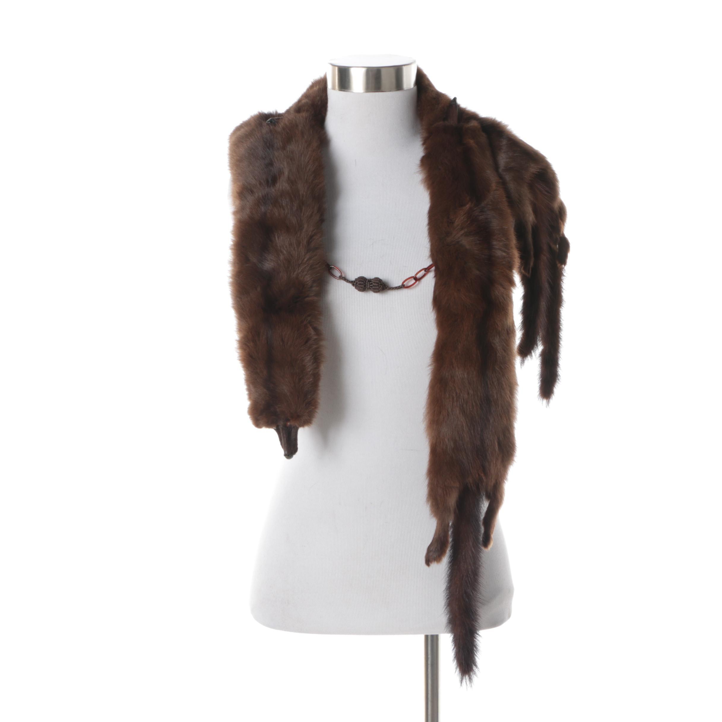 Women's Vintage Four Pelt Mink Fur Stole