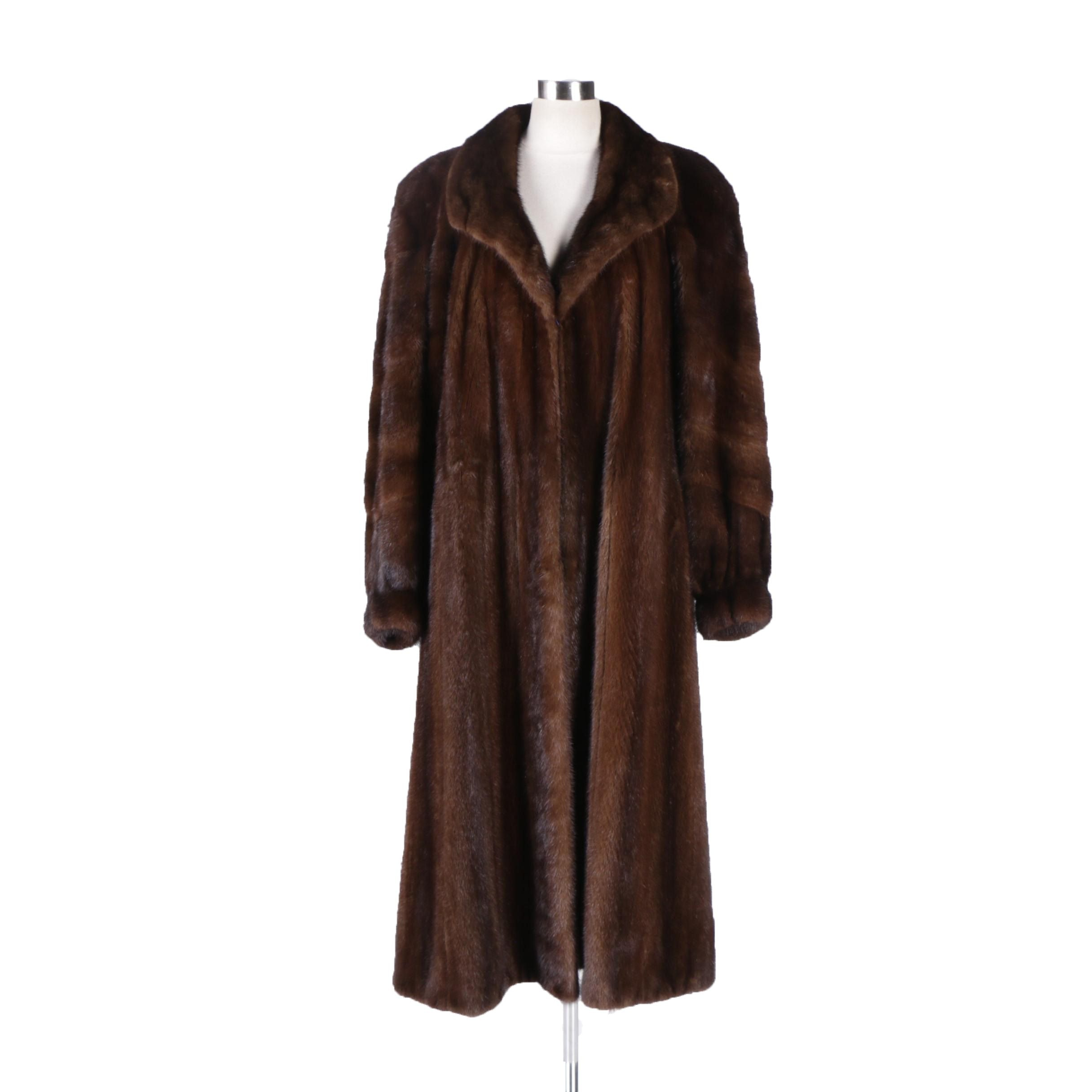 Dark Mahogany Brown Mink Fur Coat