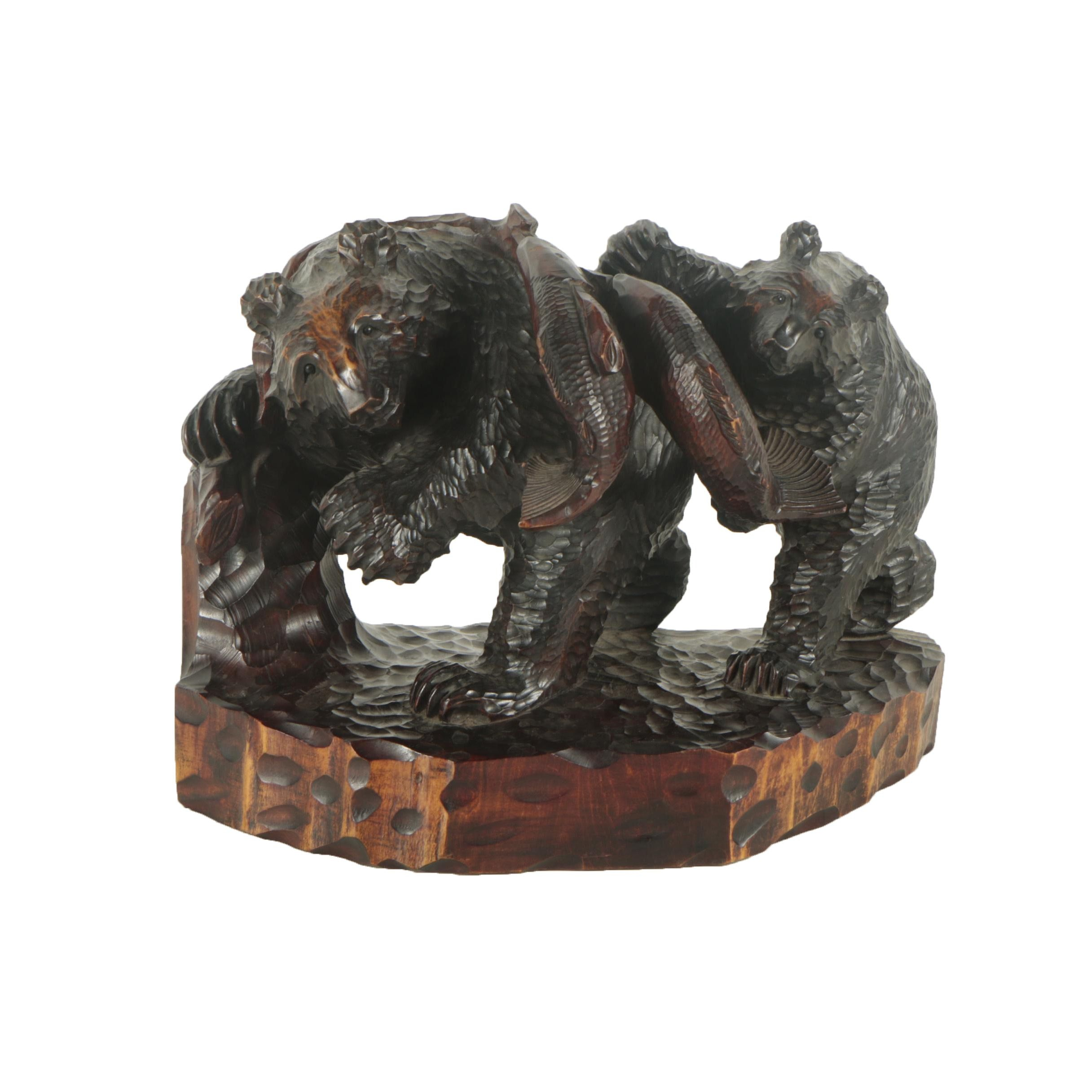 Japanese Wood Sculpture of Bears with Fish
