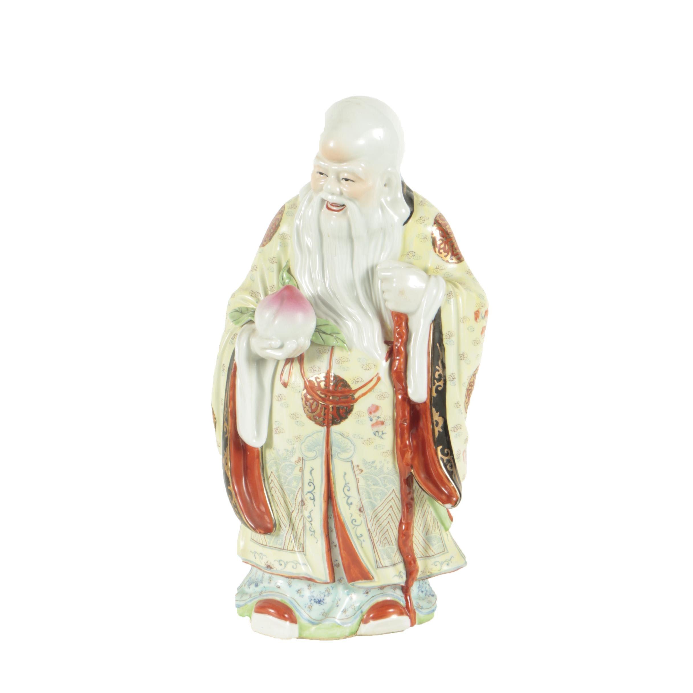 Chinese Porcelain God of Longevity Figure