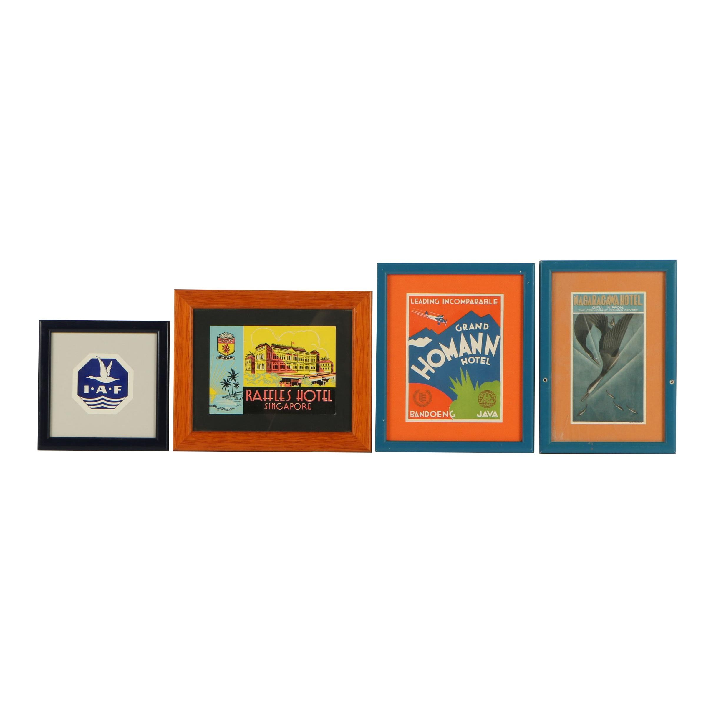 Vintage Framed International Airline Luggage and Hotel Tags