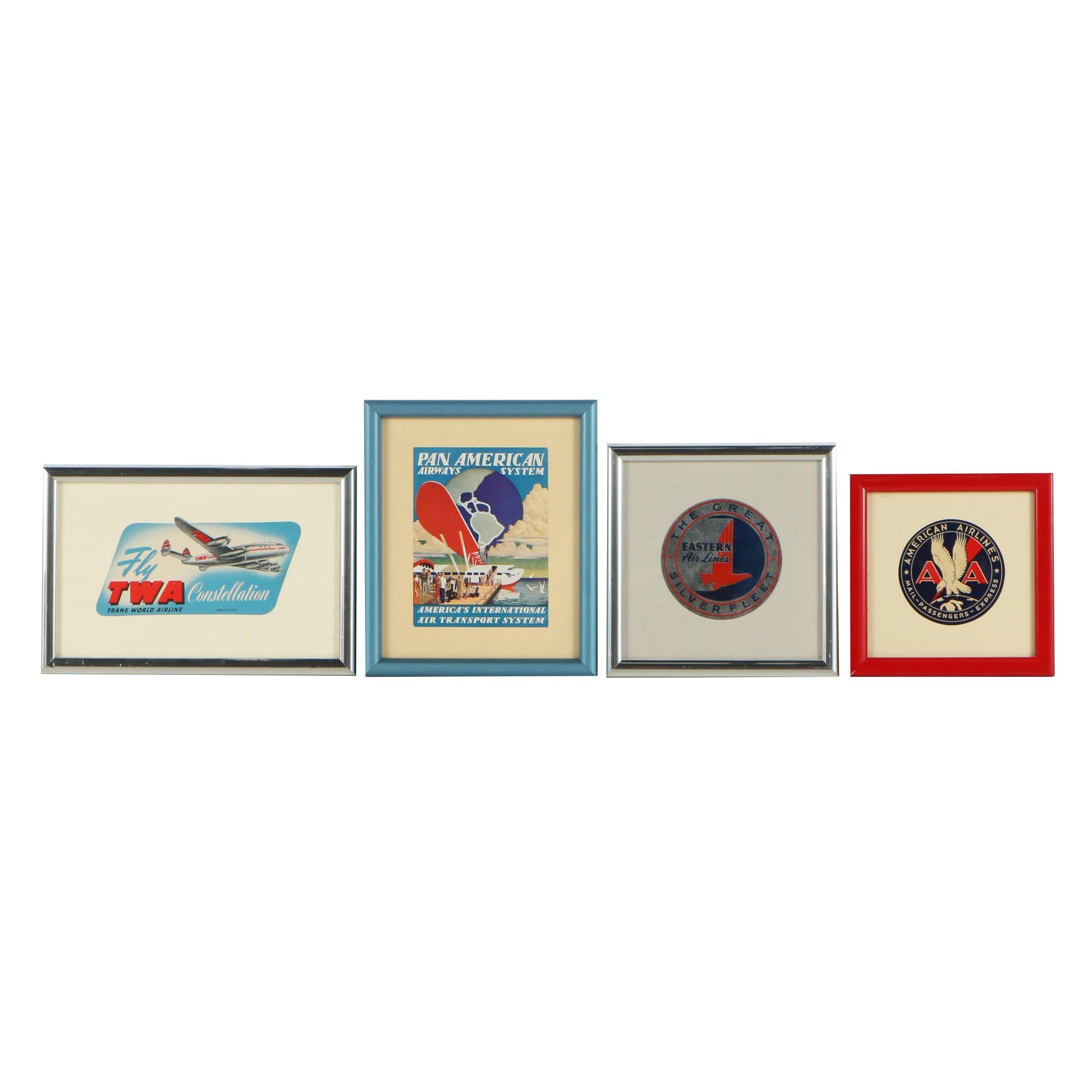 Vintage Framed Airline Luggage Tags