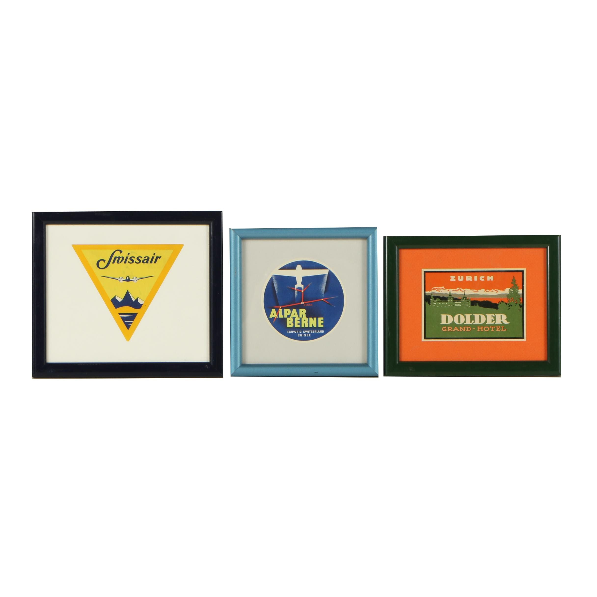 Vintage Framed Swiss Airline and Hotel Luggage Tags