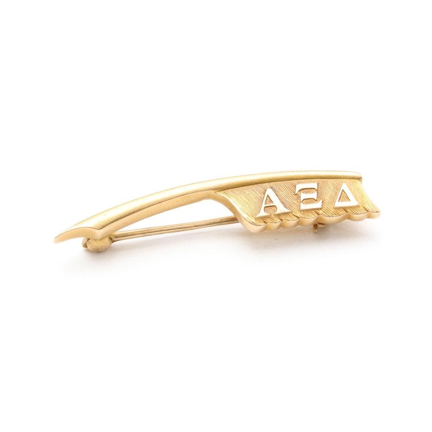 10k Yellow Gold Alpha Xi Delta Sorority Pin Ebth