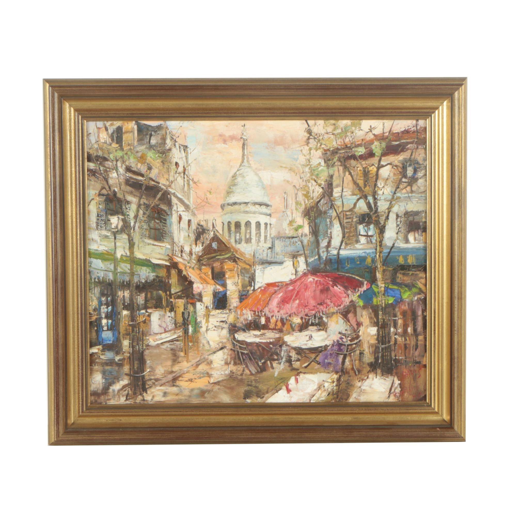 Mid-Century Oil Painting on Canvas of a Parisian Street Scene