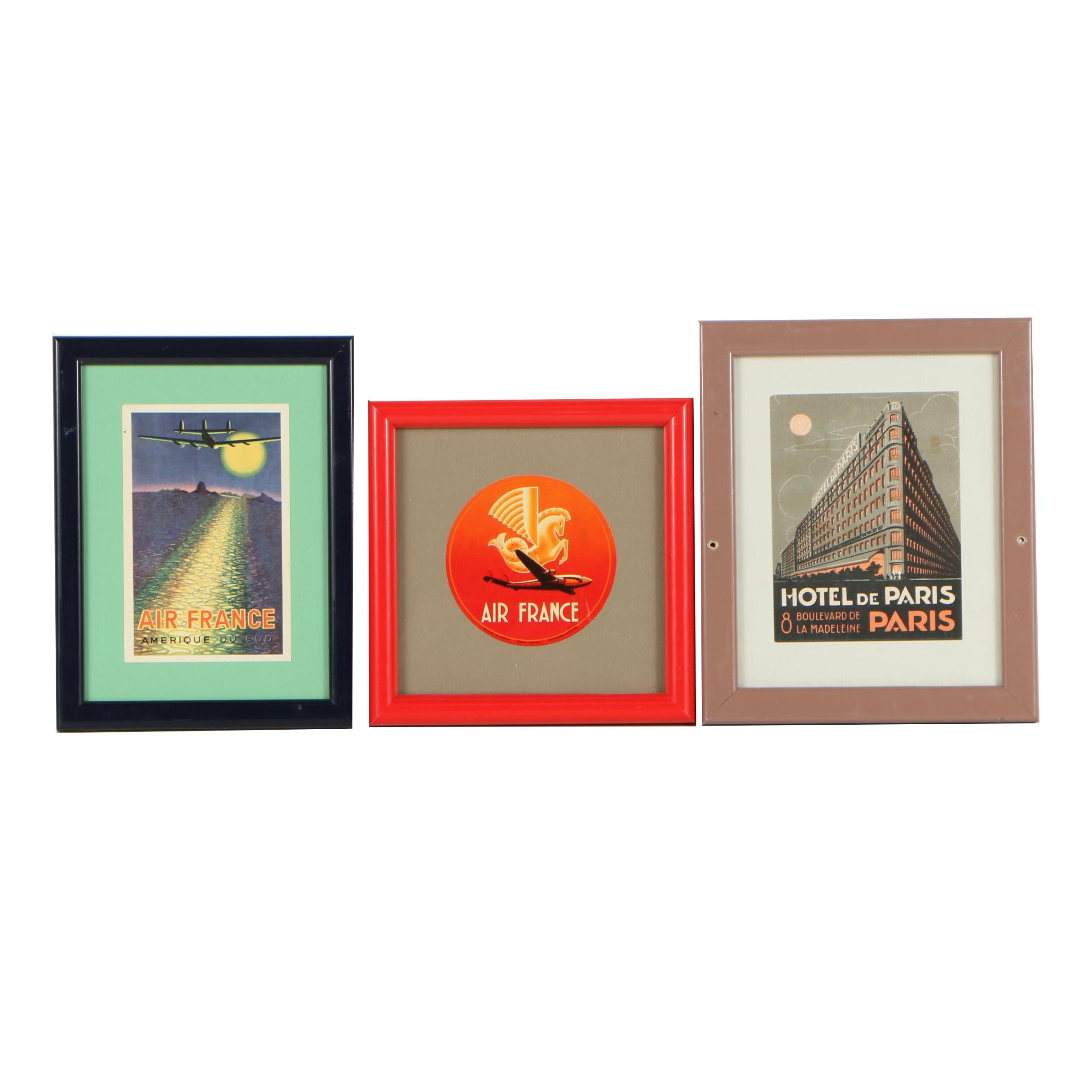 Vintage Framed French Airline and Hotel Luggage Tags