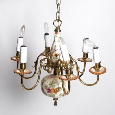 Brass and Floral Hand Decorated Ceramic Six-Arm Chandelier