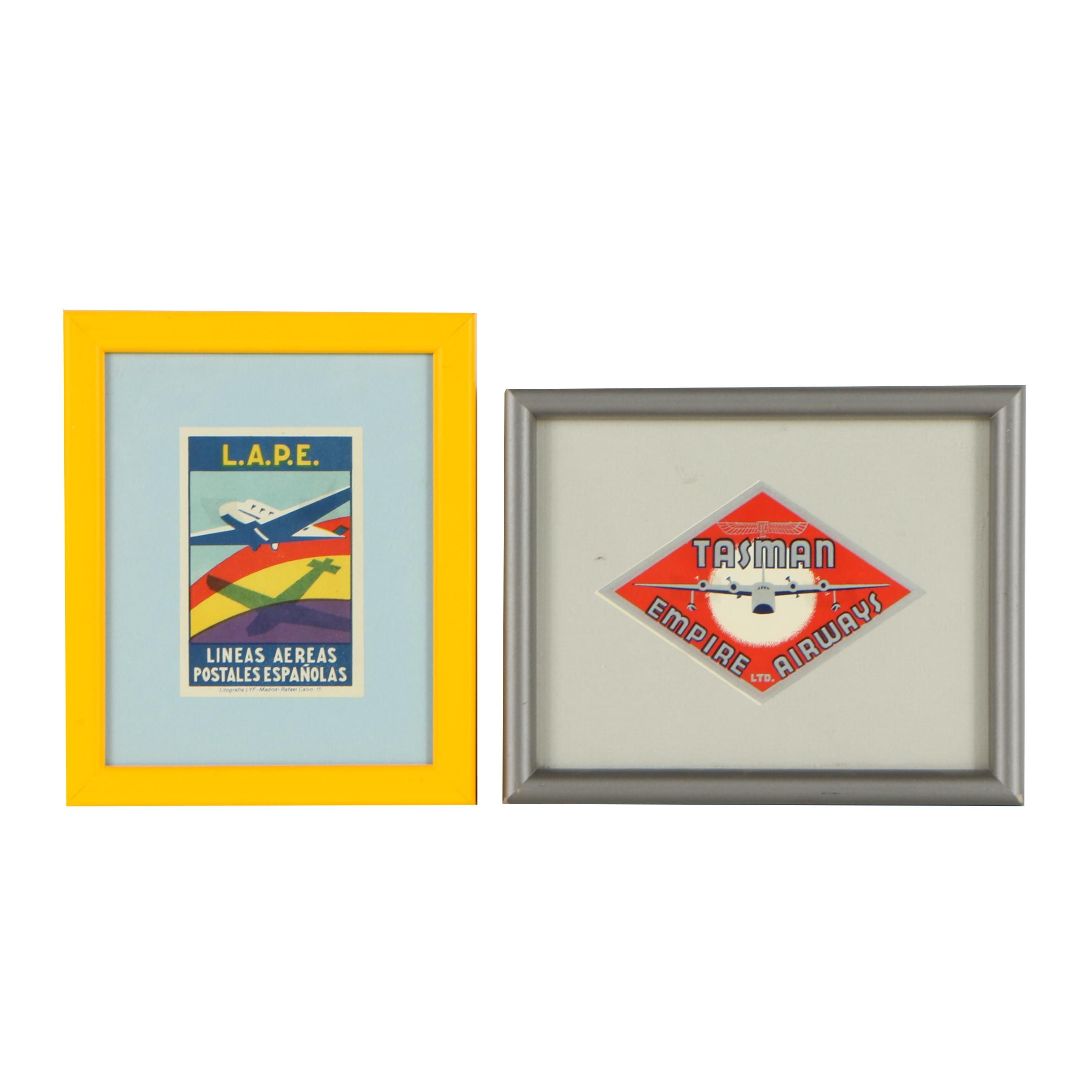Vintage Framed New Zealand and Spanish Airline Luggage Tags