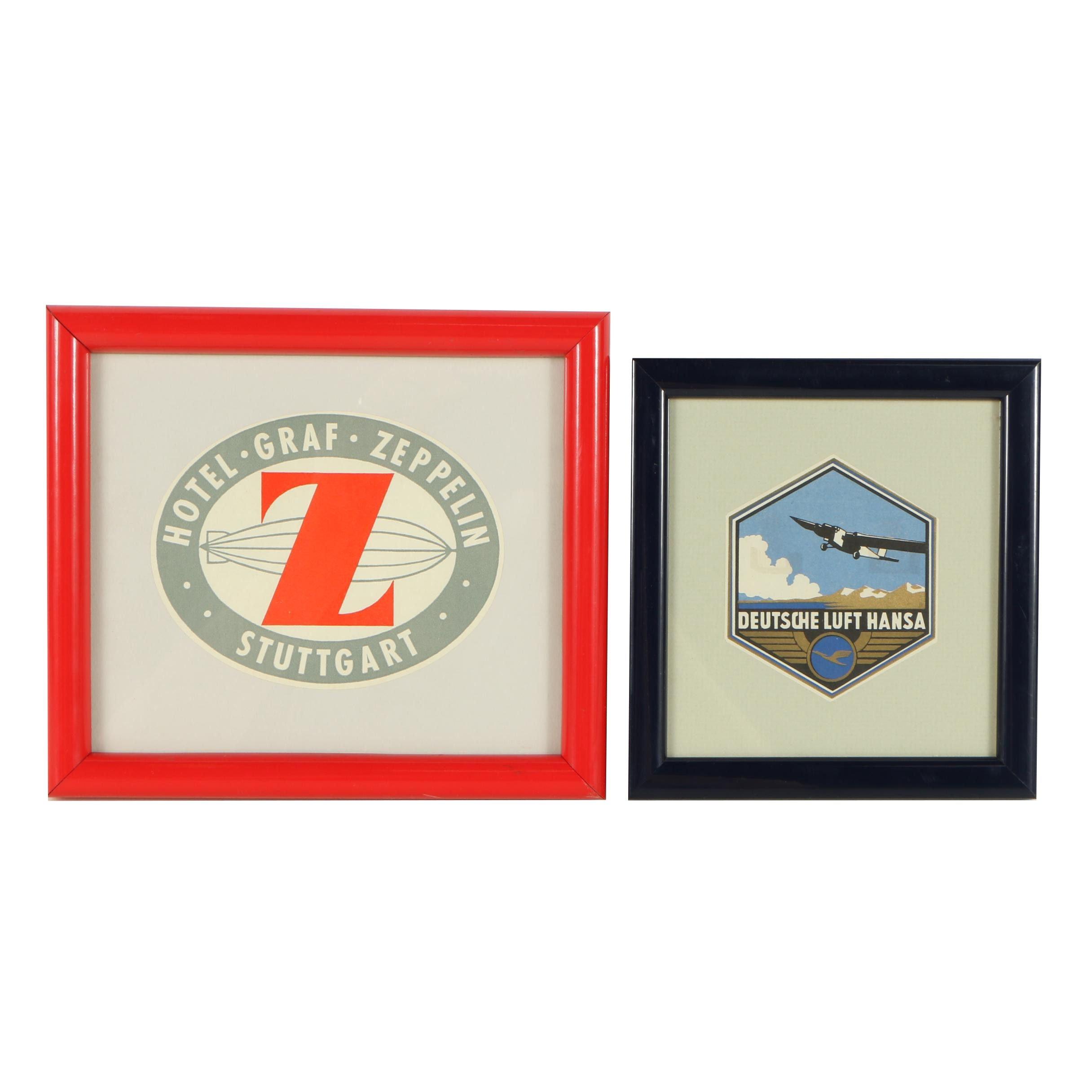 Vintage German Airline and Hotel Framed Tags